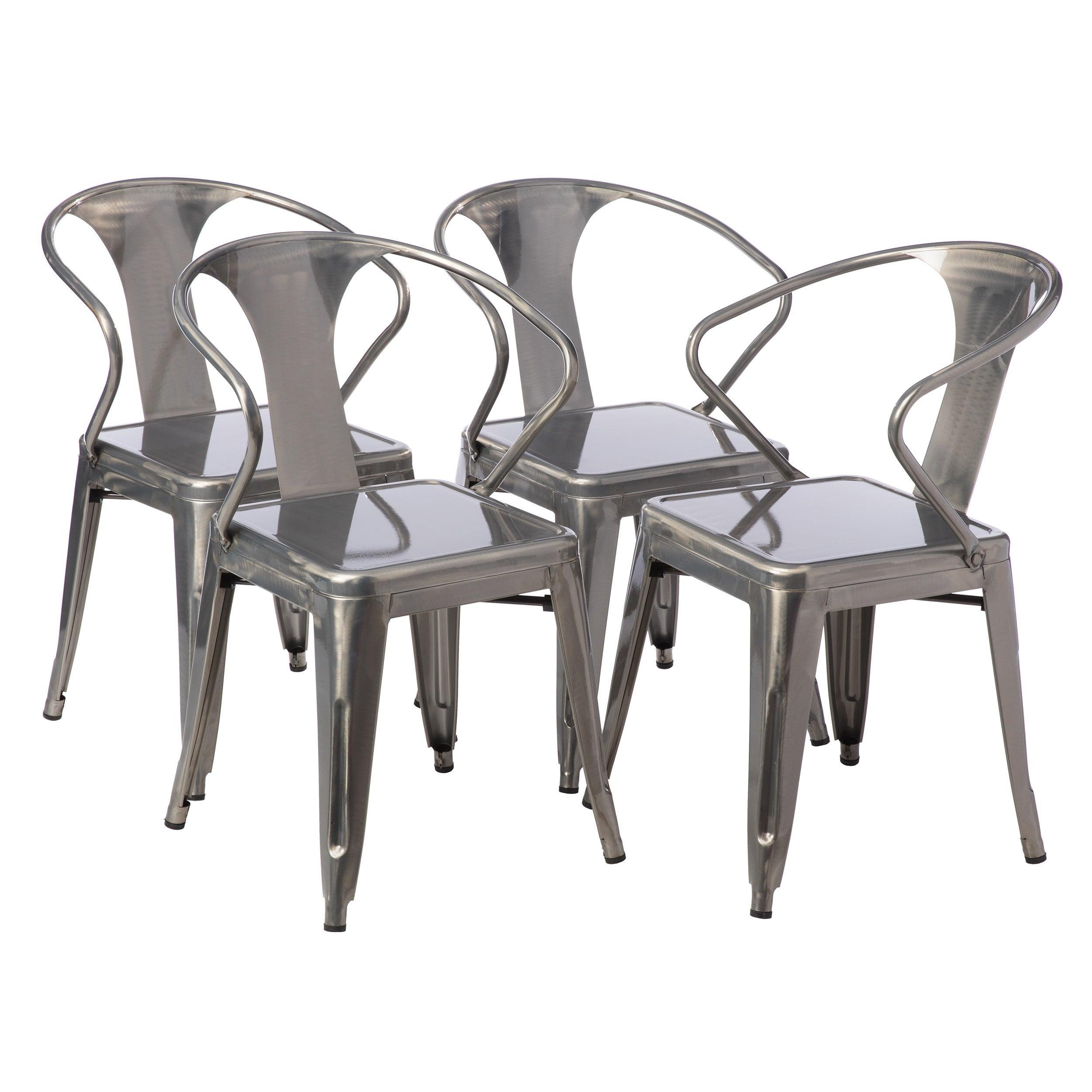 Carbon Loft Gunmetal Tabouret Stacking Chair Set of 4 Free