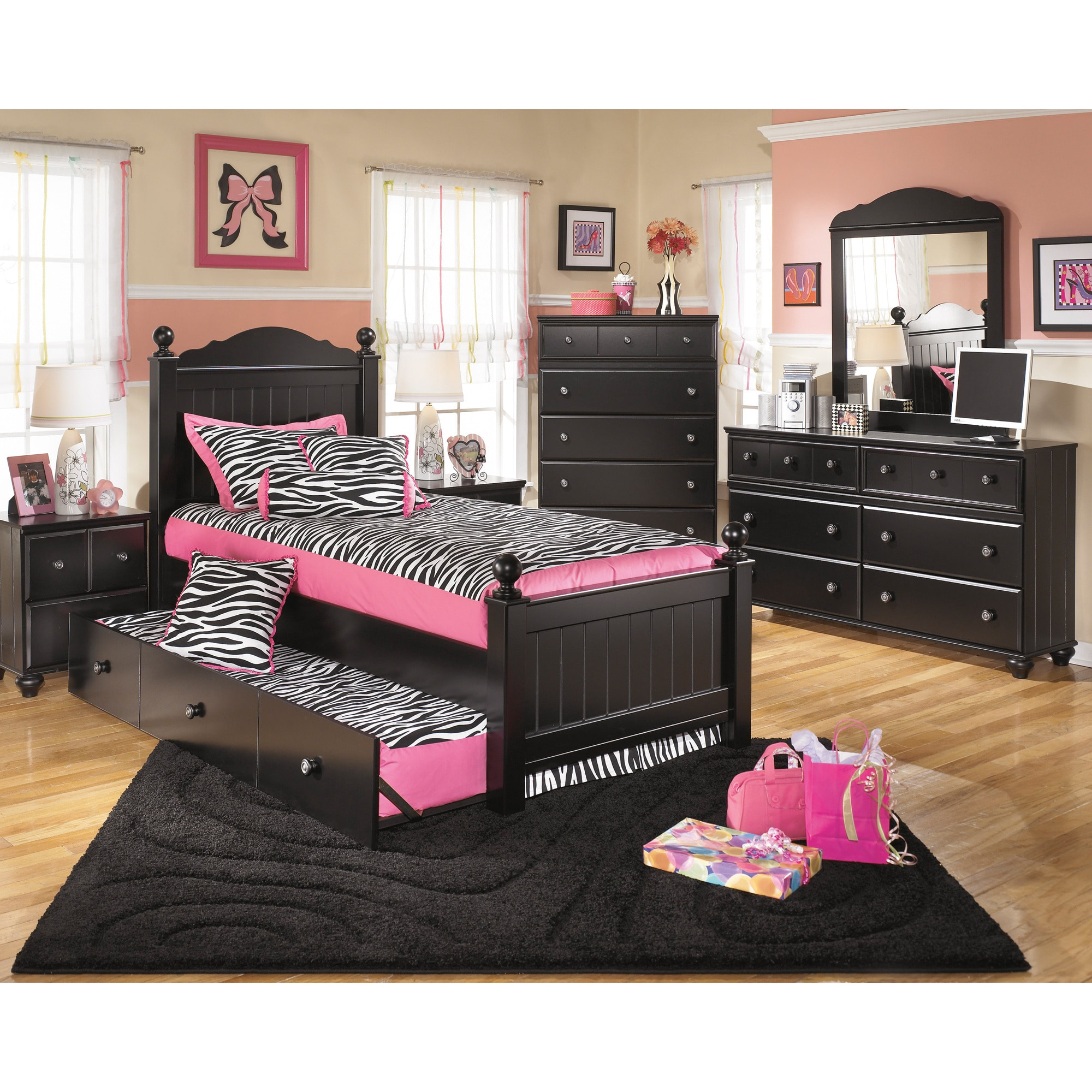 Signature Design by Ashley Jaidyn Black Poster Bed Set with Trundle ...