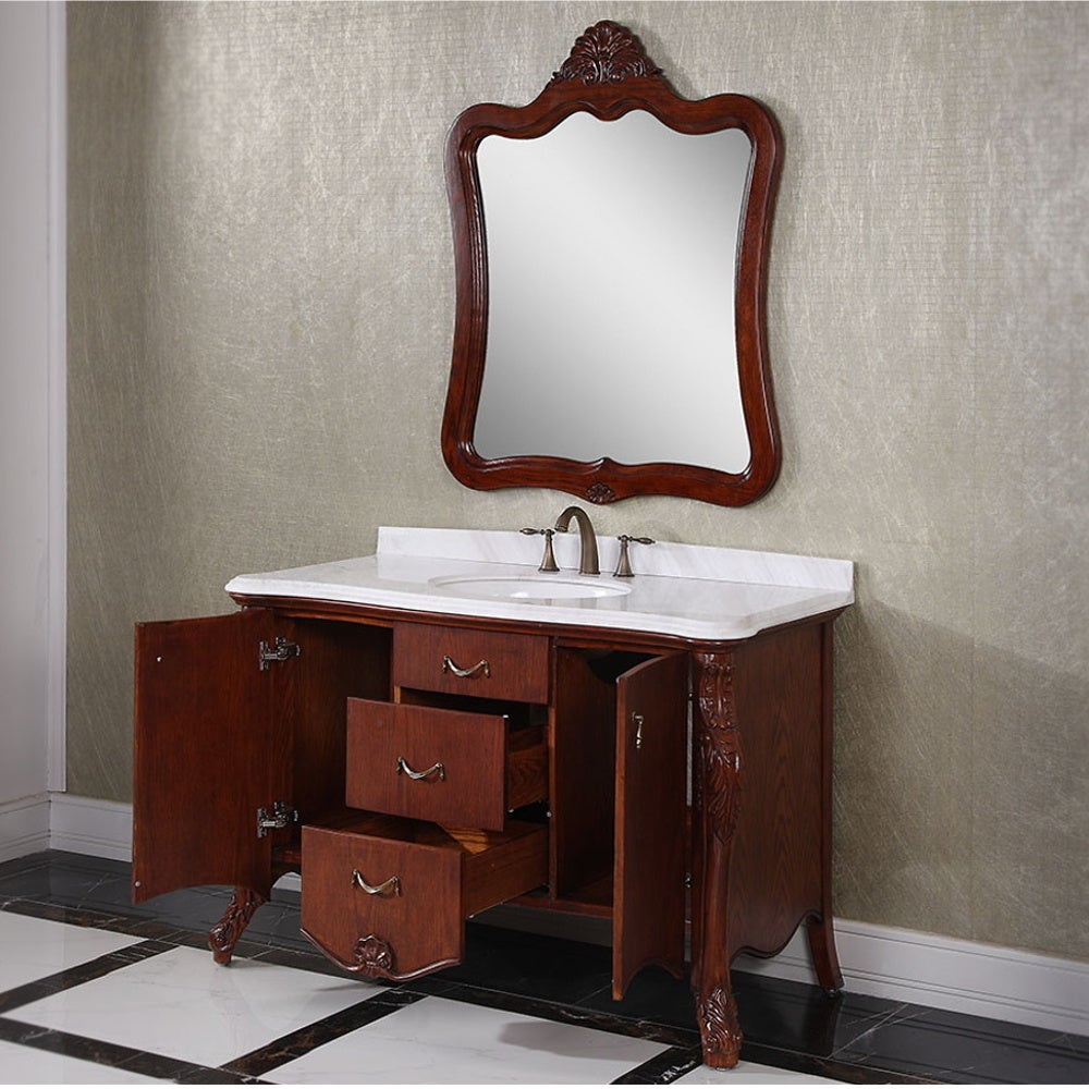 Carrara White Marble Top Brown 53 Inch Single Sink Bathroom Vanity With Matching Mirror Free Shipping Today 9410388