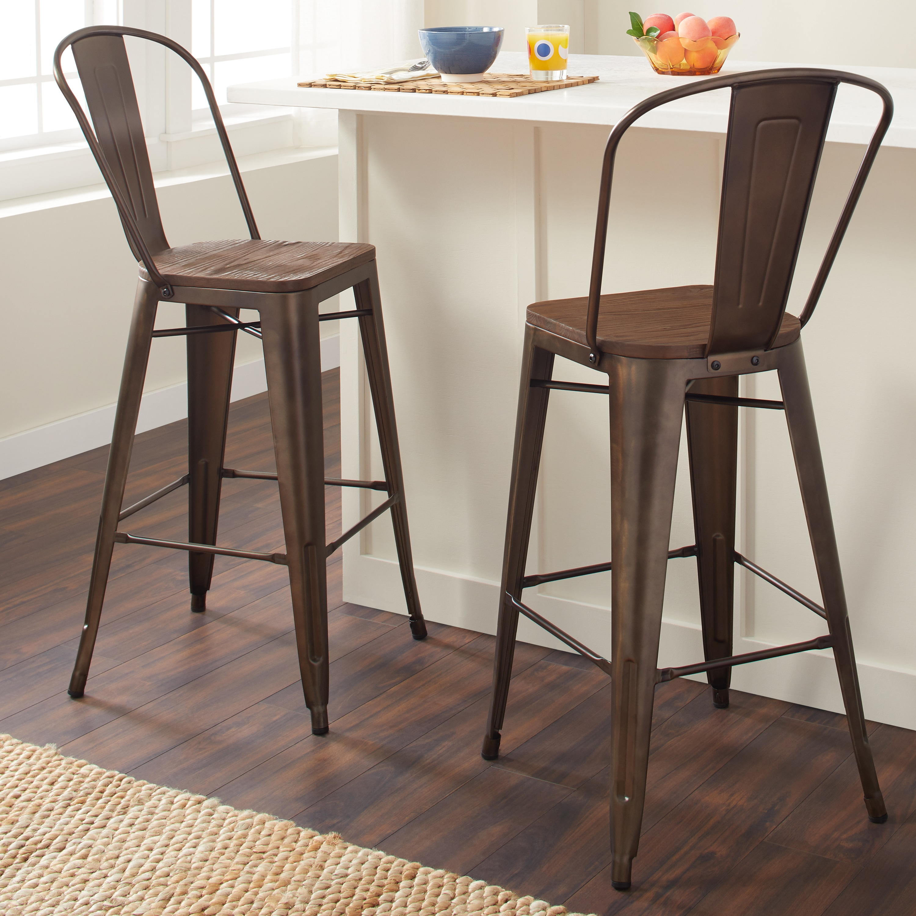 Shop tabouret 30 inch bistro wood seat vintage finish bar stools set of 2 free shipping today overstock com 9412703