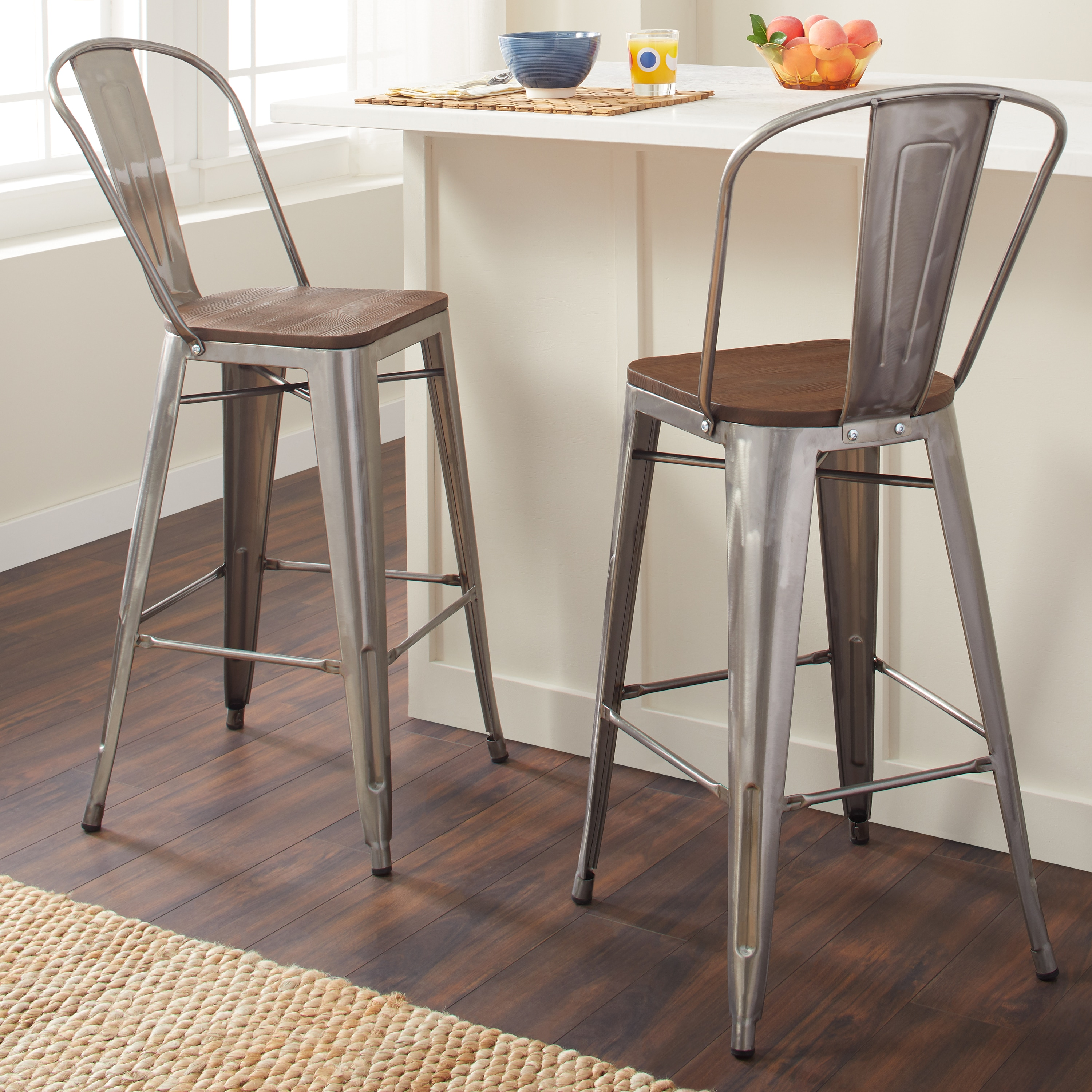 Tabouret Bistro Wood Seat Gunmetal Finish Bar Stools Set Of 2 Free Shipping Today 9412704