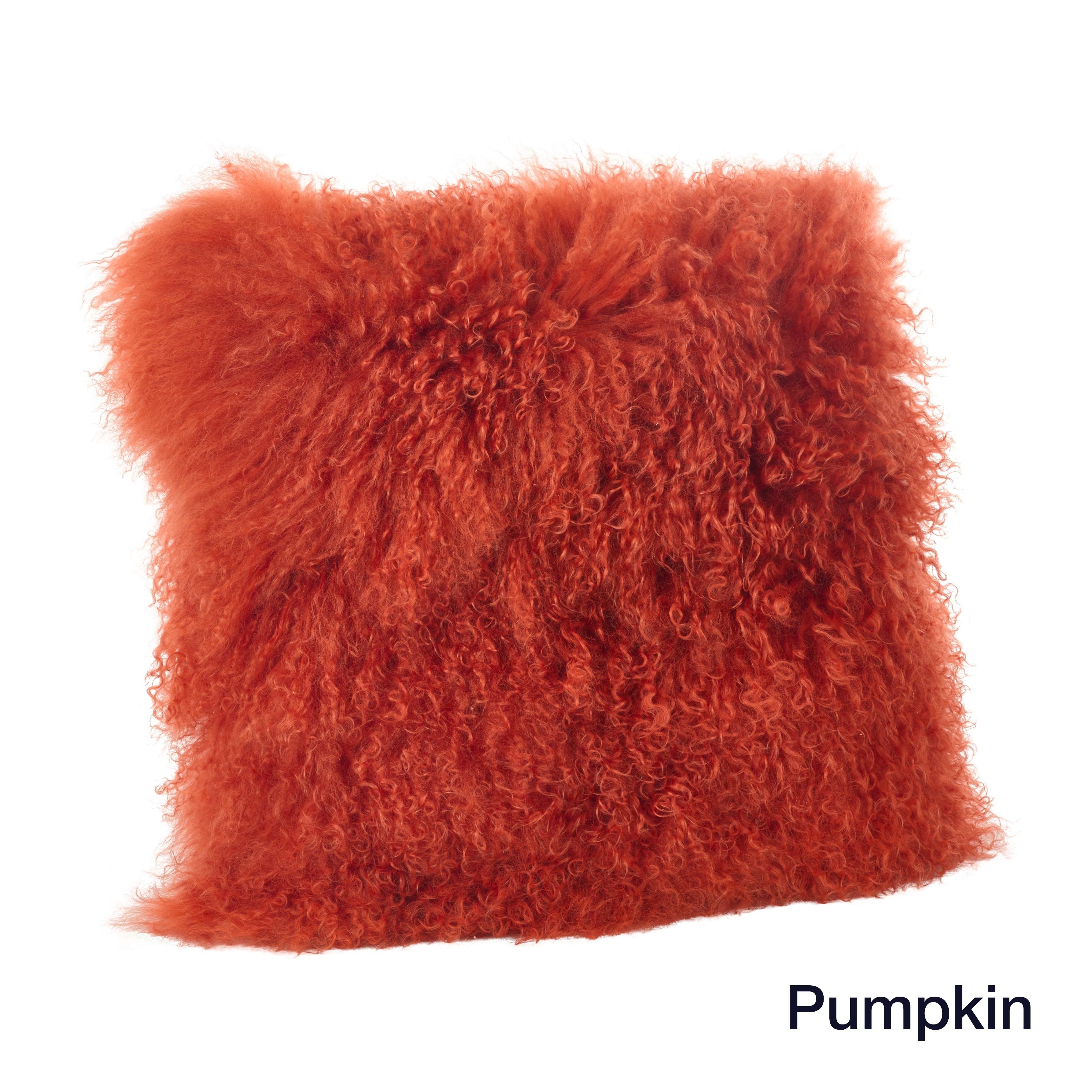 Mongolian Lamb Fur Throw Pillow - Free Shipping Today - Overstock ...
