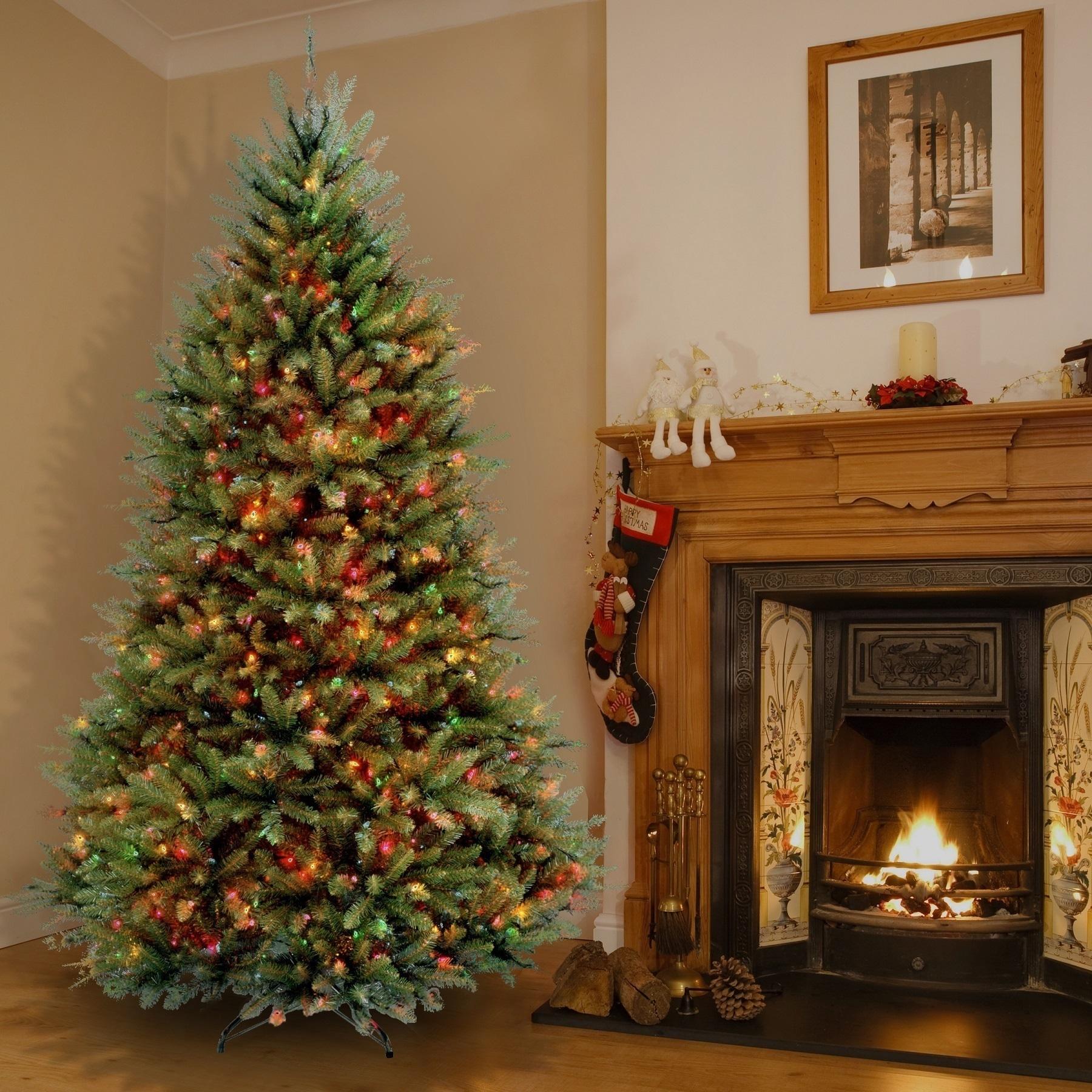 dunhill fir pre lit christmas tree fir artificial shop 65foot dunhill fir prelit or unlit artificial hinged christmas tree free shipping today overstockcom 9413337