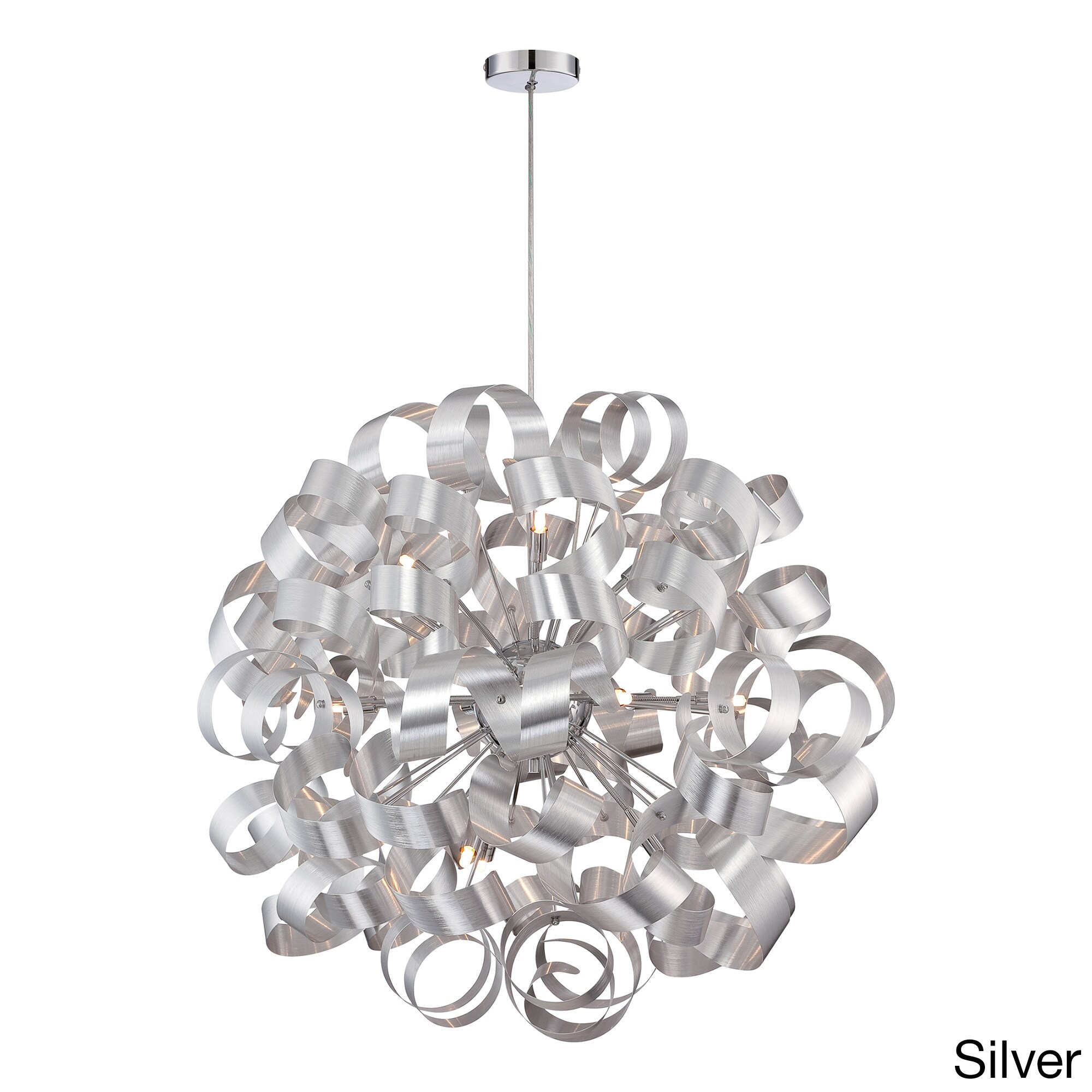 Quoize 12 light Ribbon Curled Steel Pendant Free Shipping