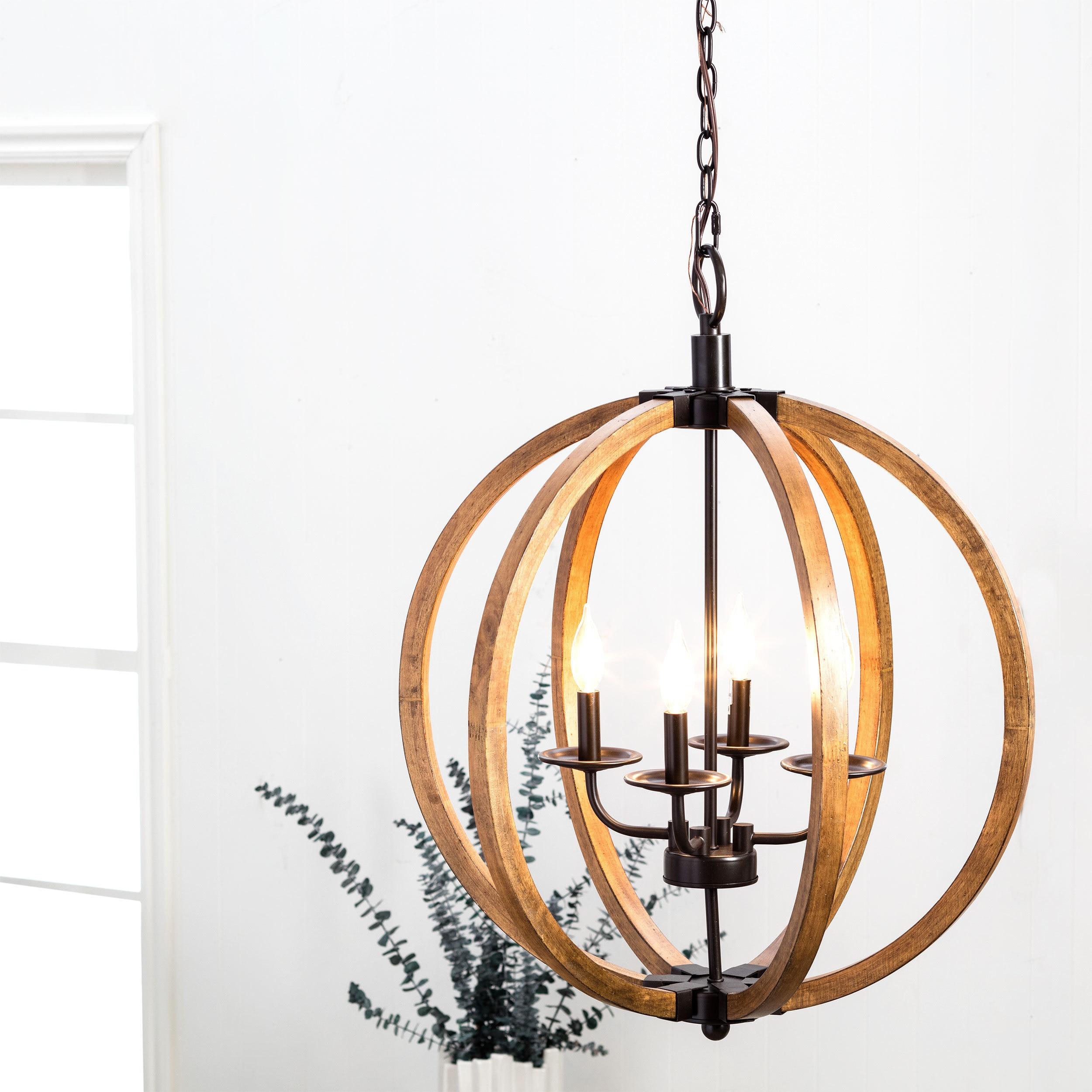 Vineyard Distressed Mahogany and Bronze 4 light Orb Chandelier