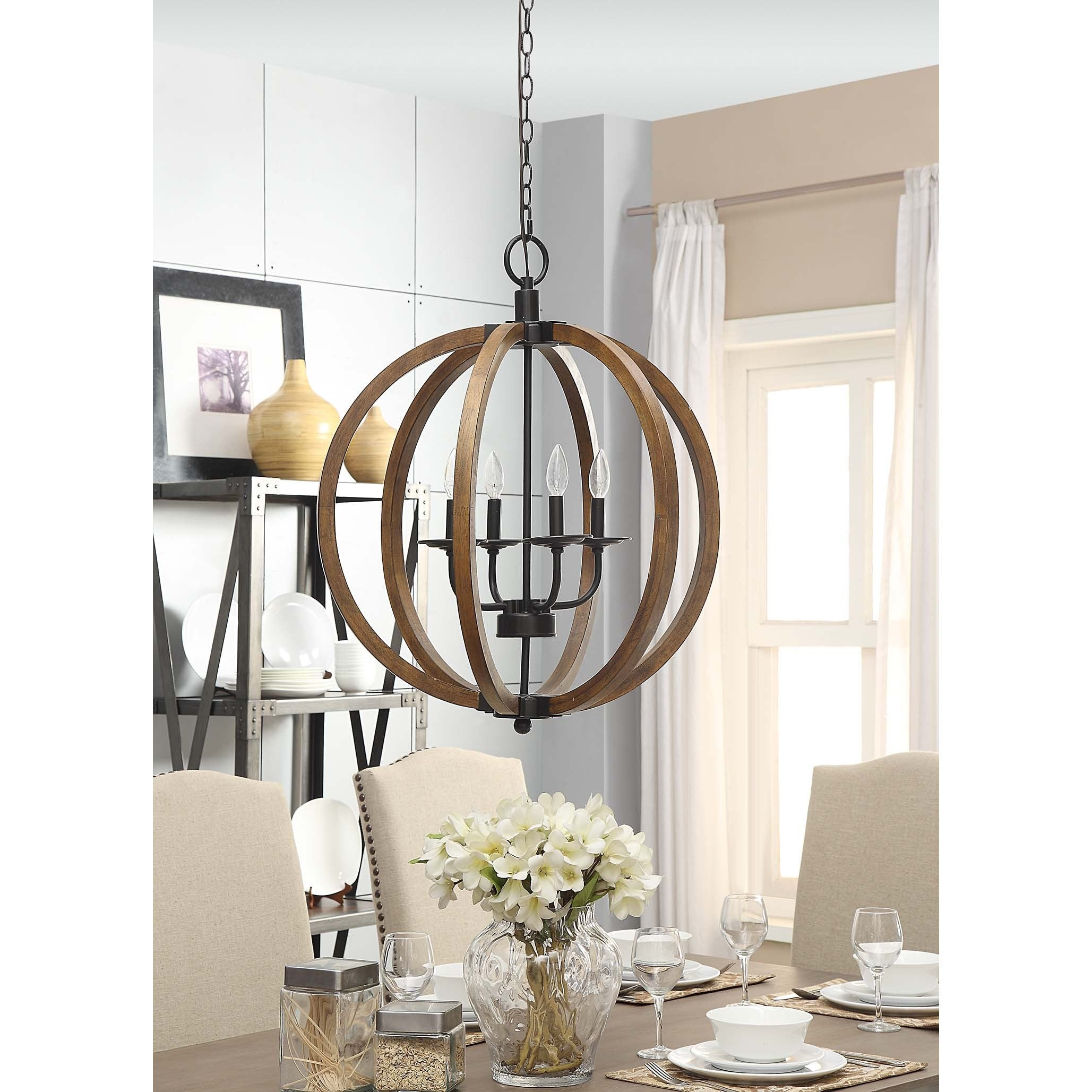 Vineyard Distressed Mahogany and Bronze 4 light Orb Chandelier