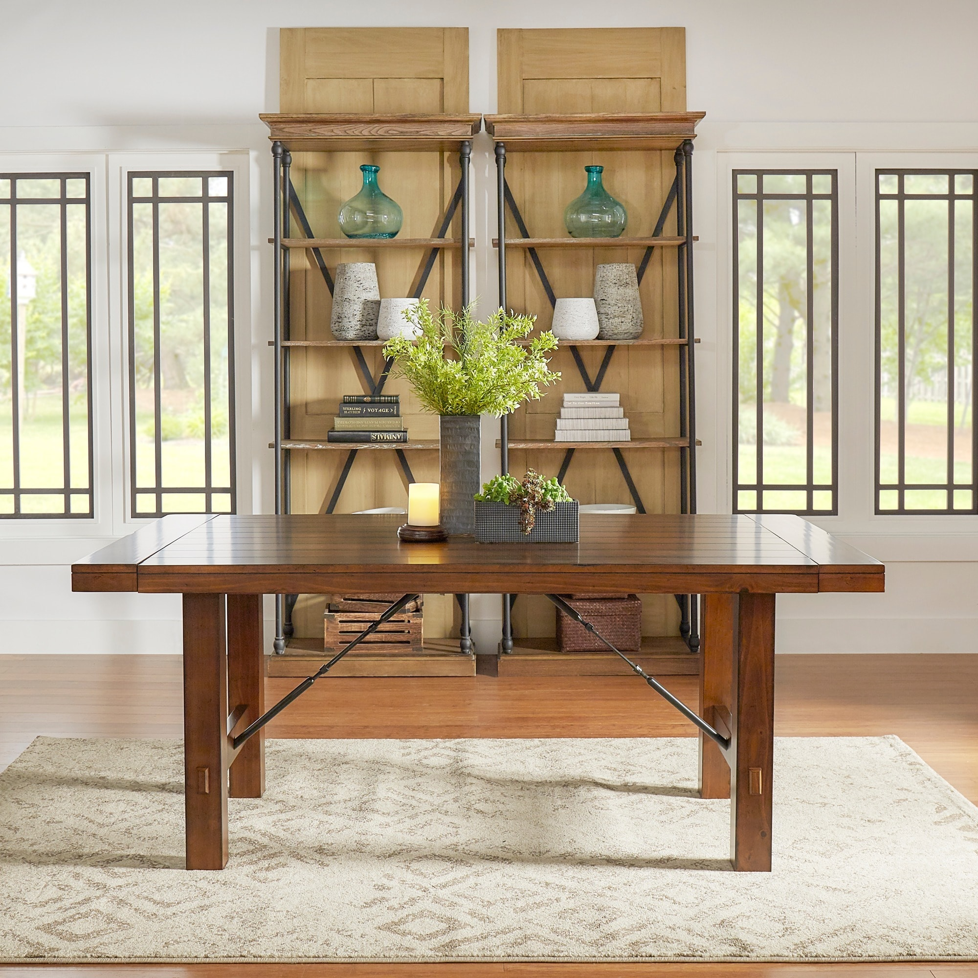 Swindon Rustic Oak Turnbuckle Extending Dining Table By INSPIRE Q Classic    Free Shipping Today   Overstock.com   16605799