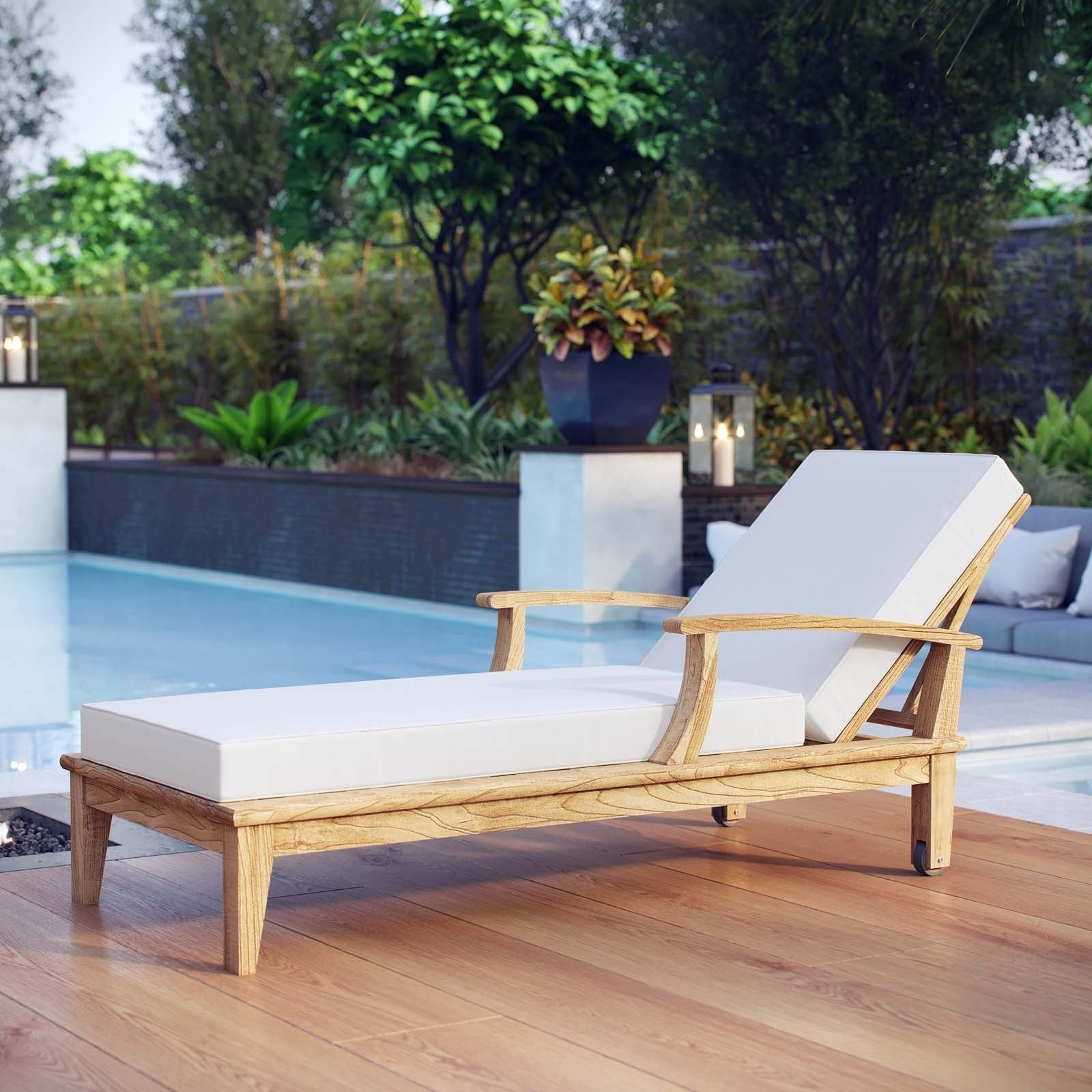 Shop Pier Outdoor Patio Teak Wood Single Chaise - Free Shipping ...