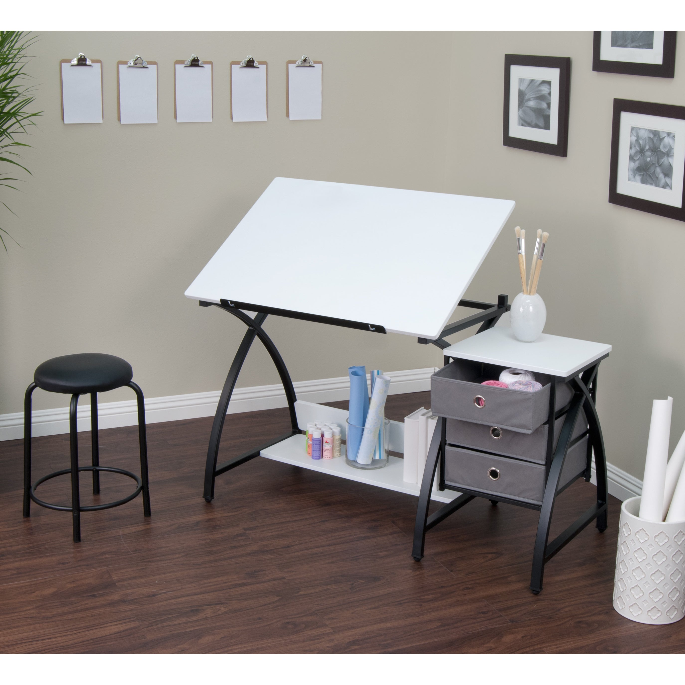 Studio Designs Comet Black And White Metal Drafting Hobby Craft Table With  Stool   Free Shipping Today   Overstock   16606189