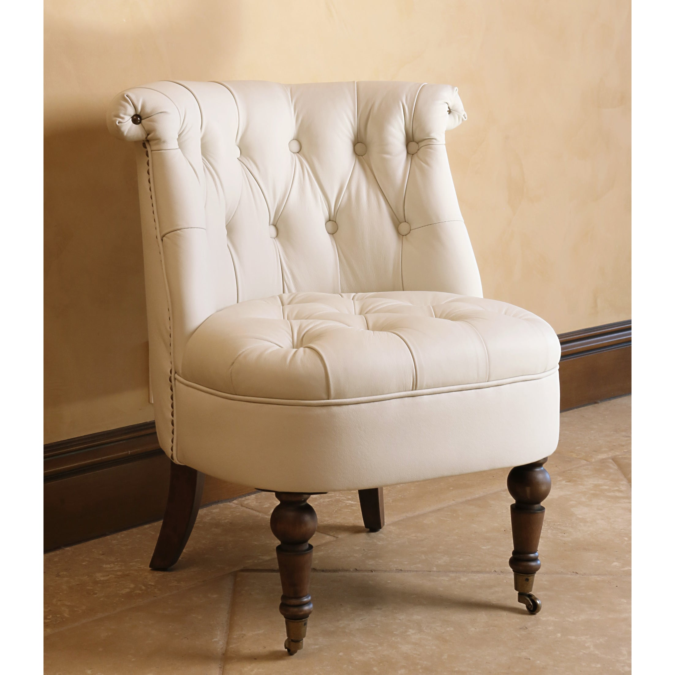 Shop Abbyson Monica Pedersen Ivory Leather Barrel Chair   On Sale   Free  Shipping Today   Overstock.com   9421245