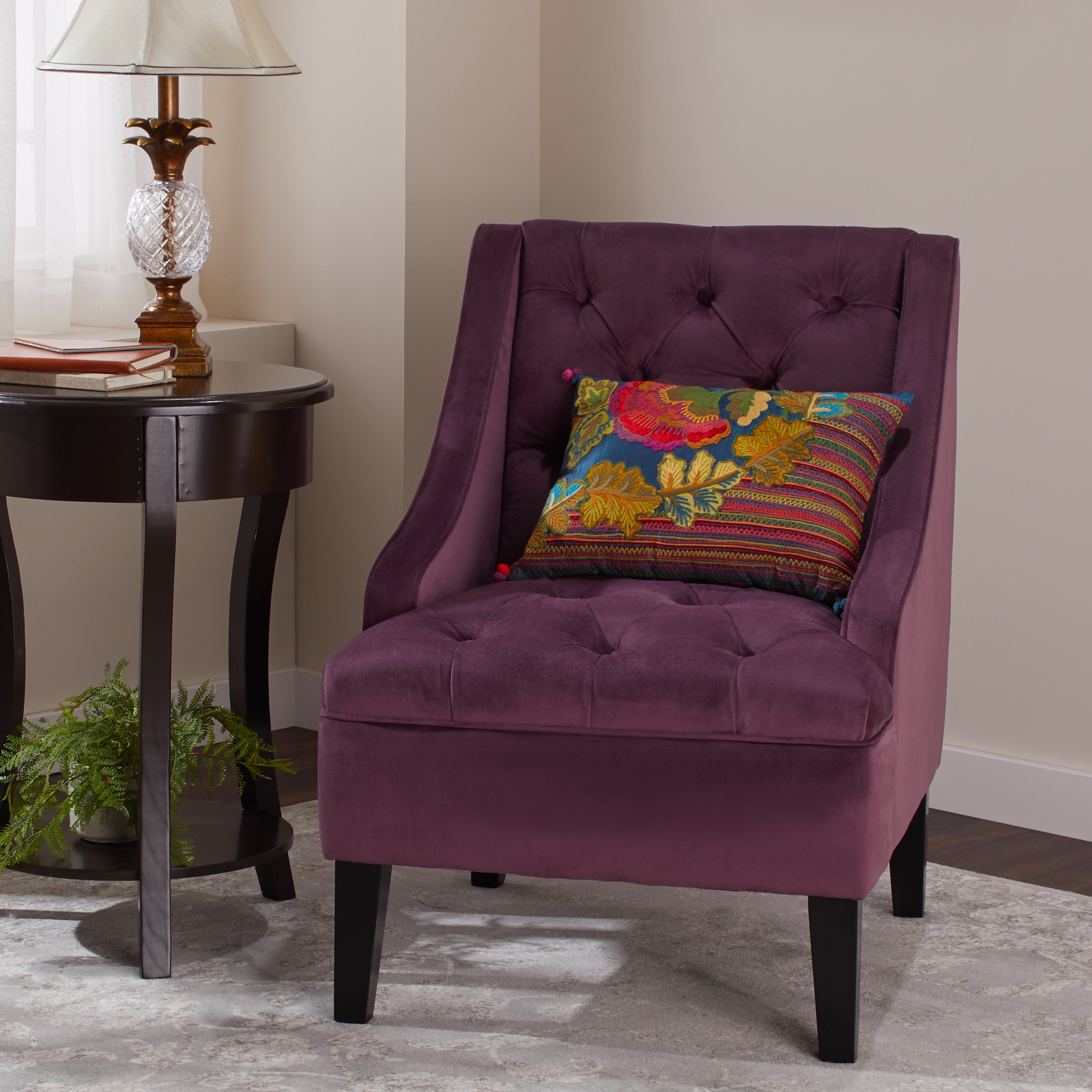 Abbyson Laguna Tufted Velvet Purple Accent Chair On Free Shipping Today 9421251
