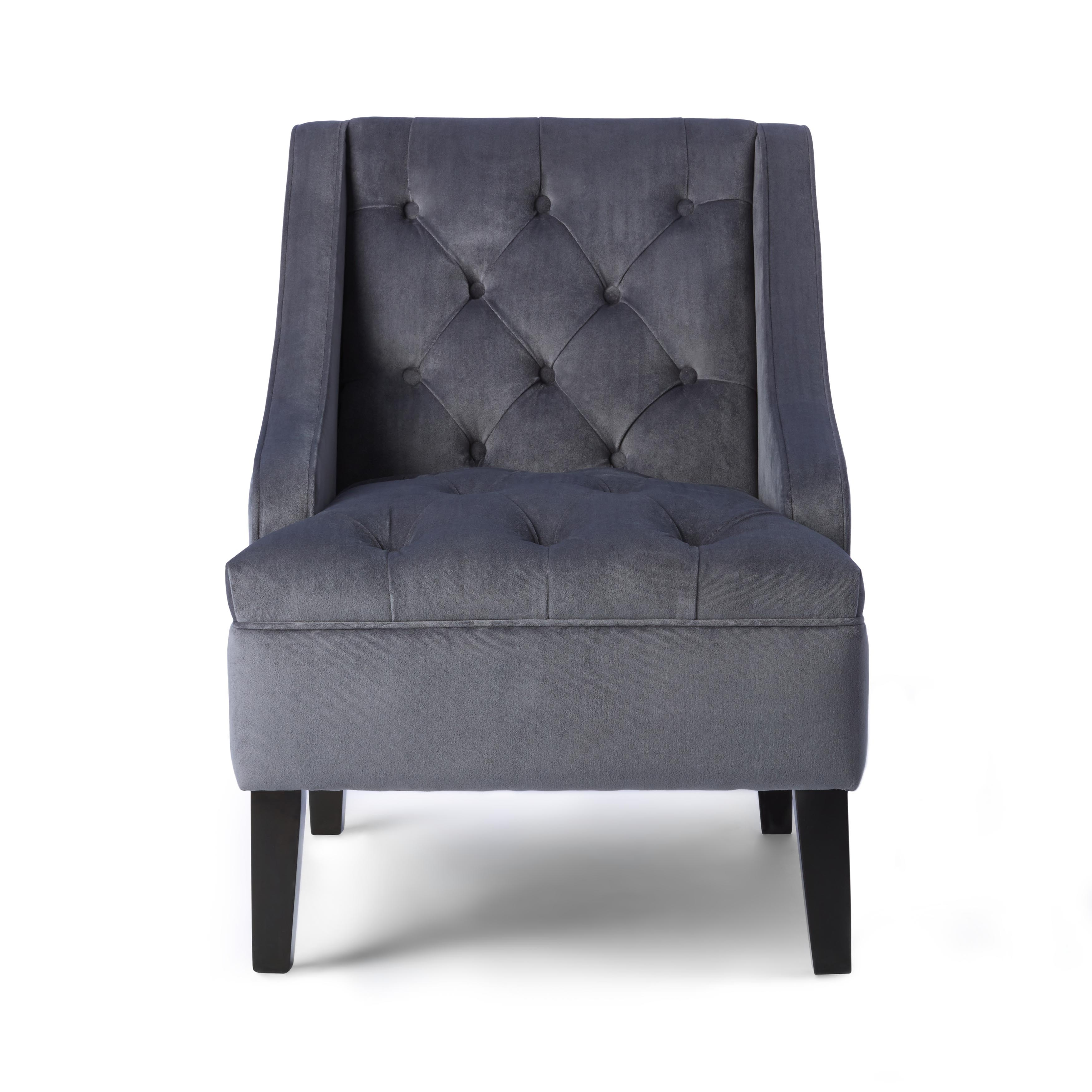 Shop Abbyson Laguna Tufted Velvet Steel Blue Accent Chair   On Sale   Free  Shipping Today   Overstock.com   9421256