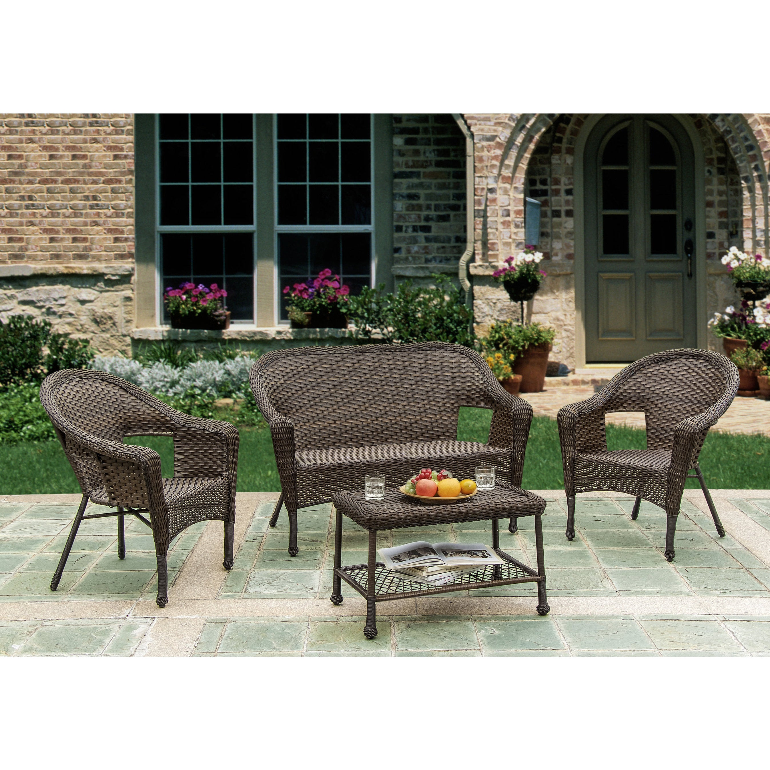 W Unlimited Brown Wicker 4 Piece Outdoor Furniture Set Free Shipping Today 9422178
