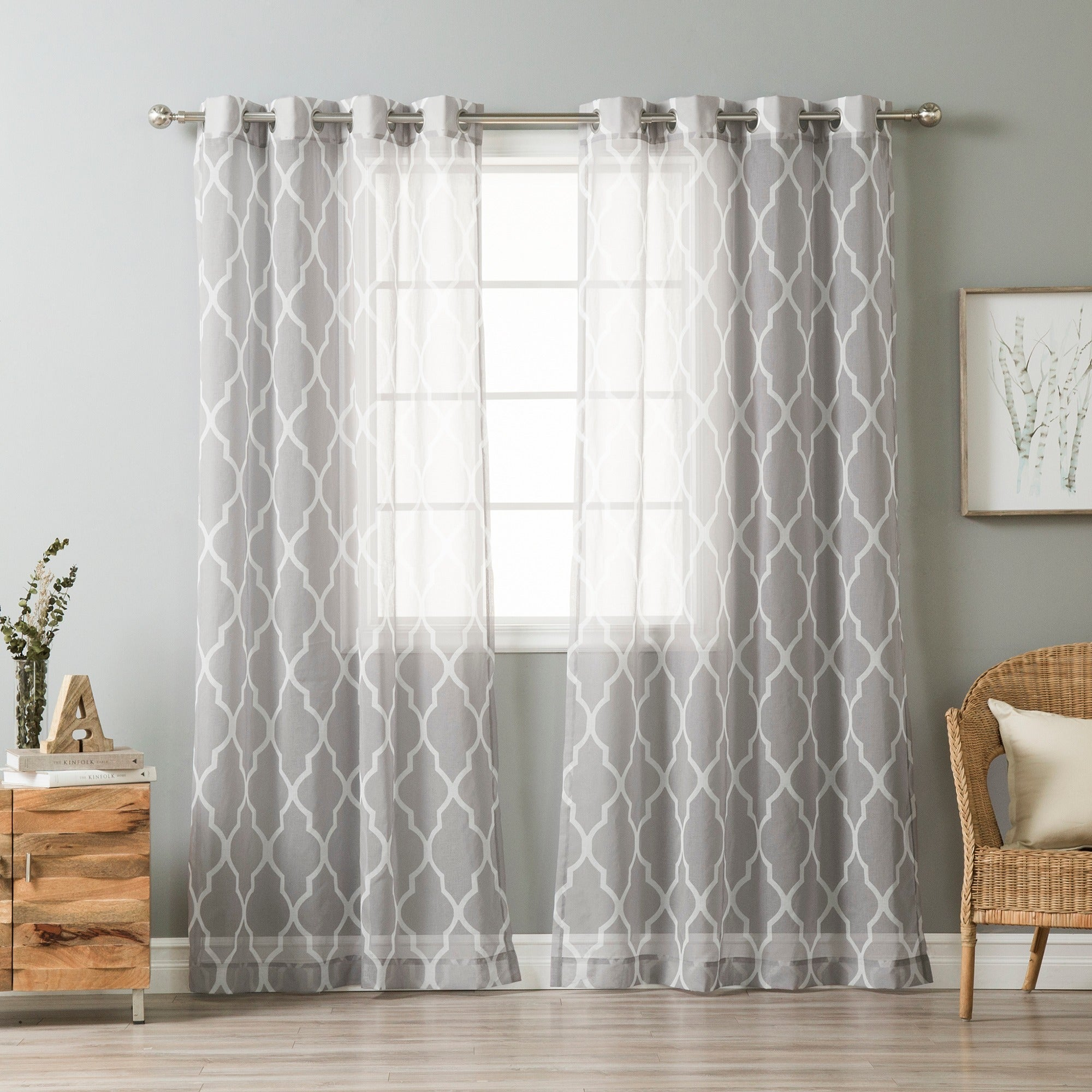 Shop Aurora Home Sheer Moroccan Grommet Top 84 Inch Curtain Panel Pair