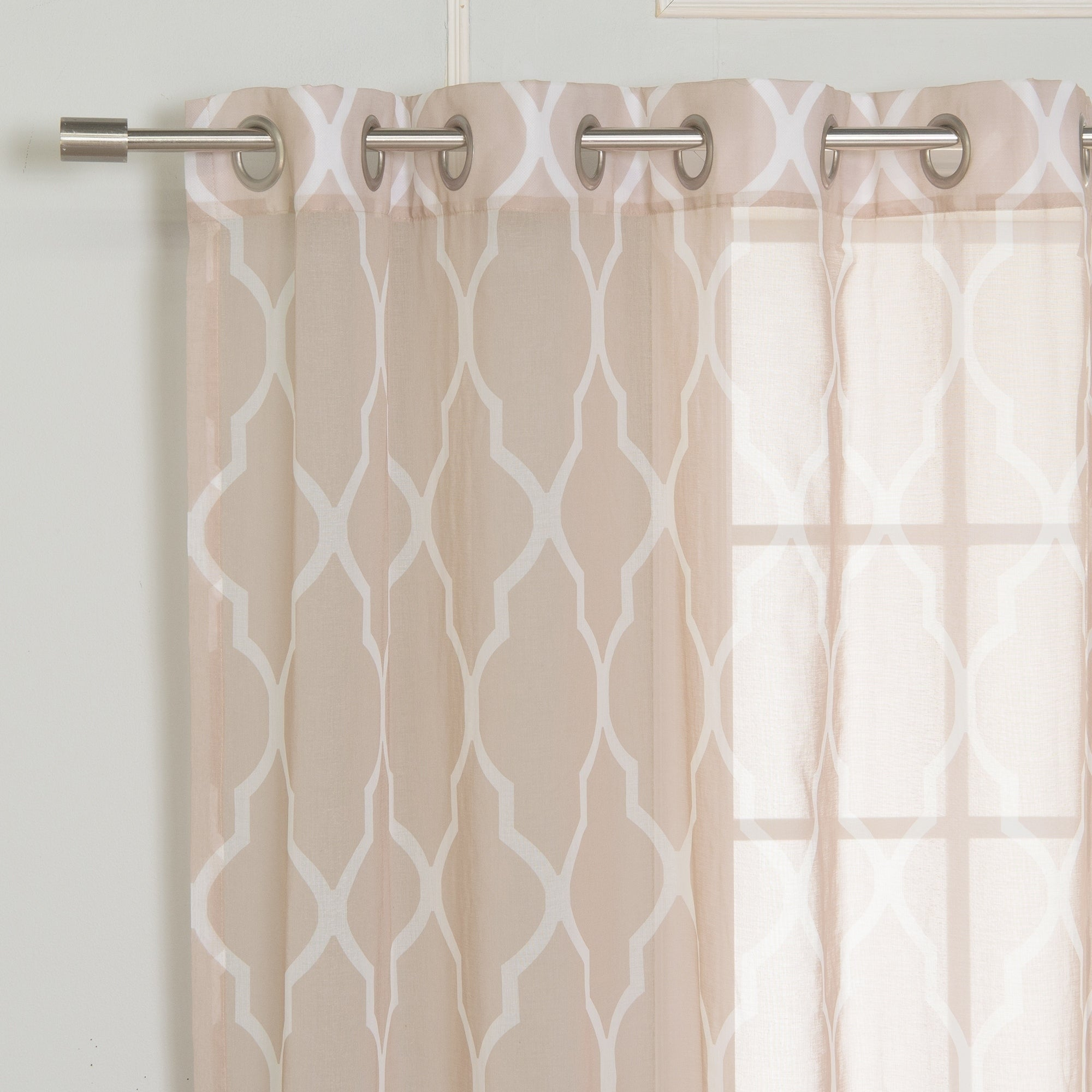 Shop Aurora Home Sheer Moroccan Grommet Top 84 Inch Curtain Panel Pair