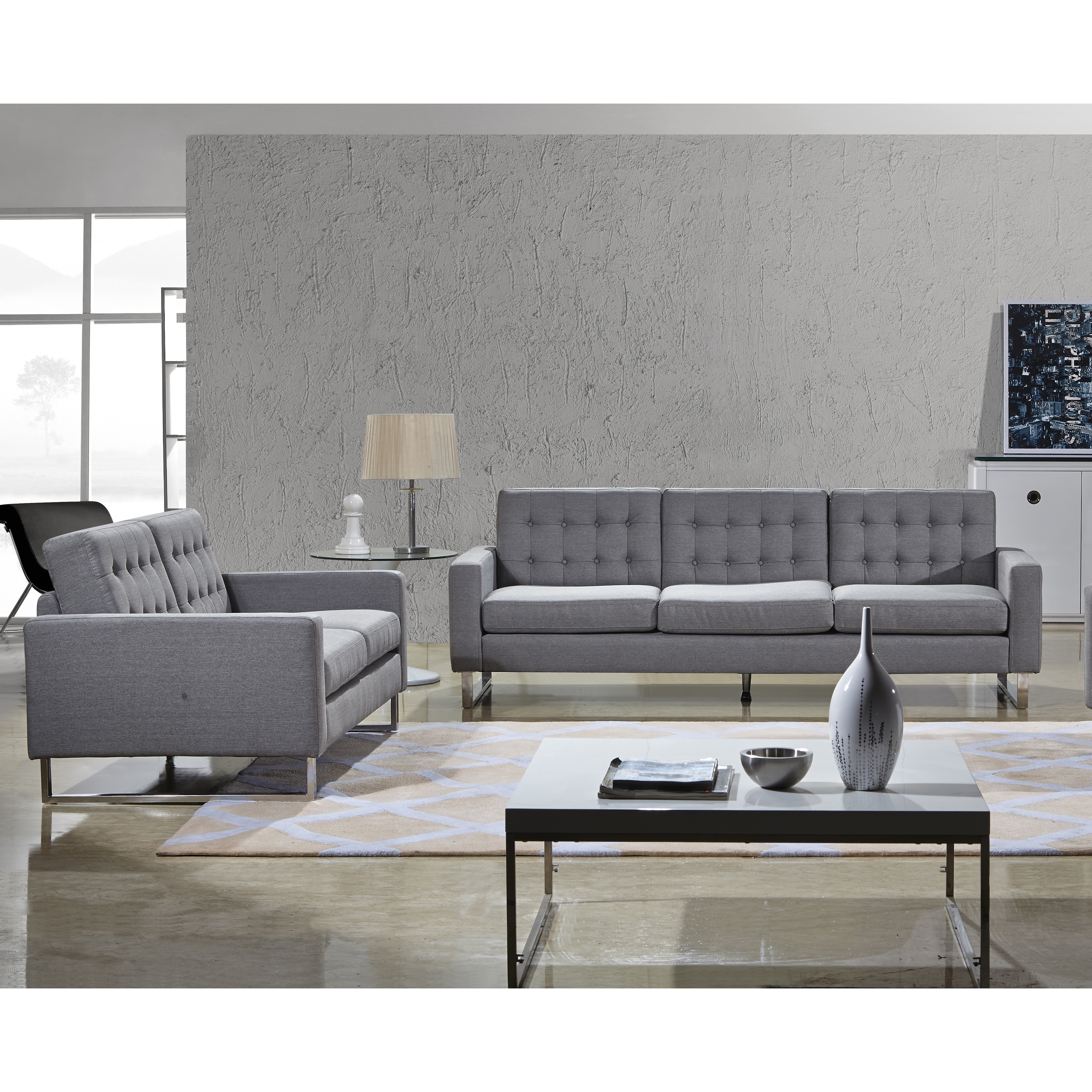 Angela Grey Fabric Modern Sofa And Loveseat Set Free Shipping  ~ Grey Sofa And Loveseat Sets