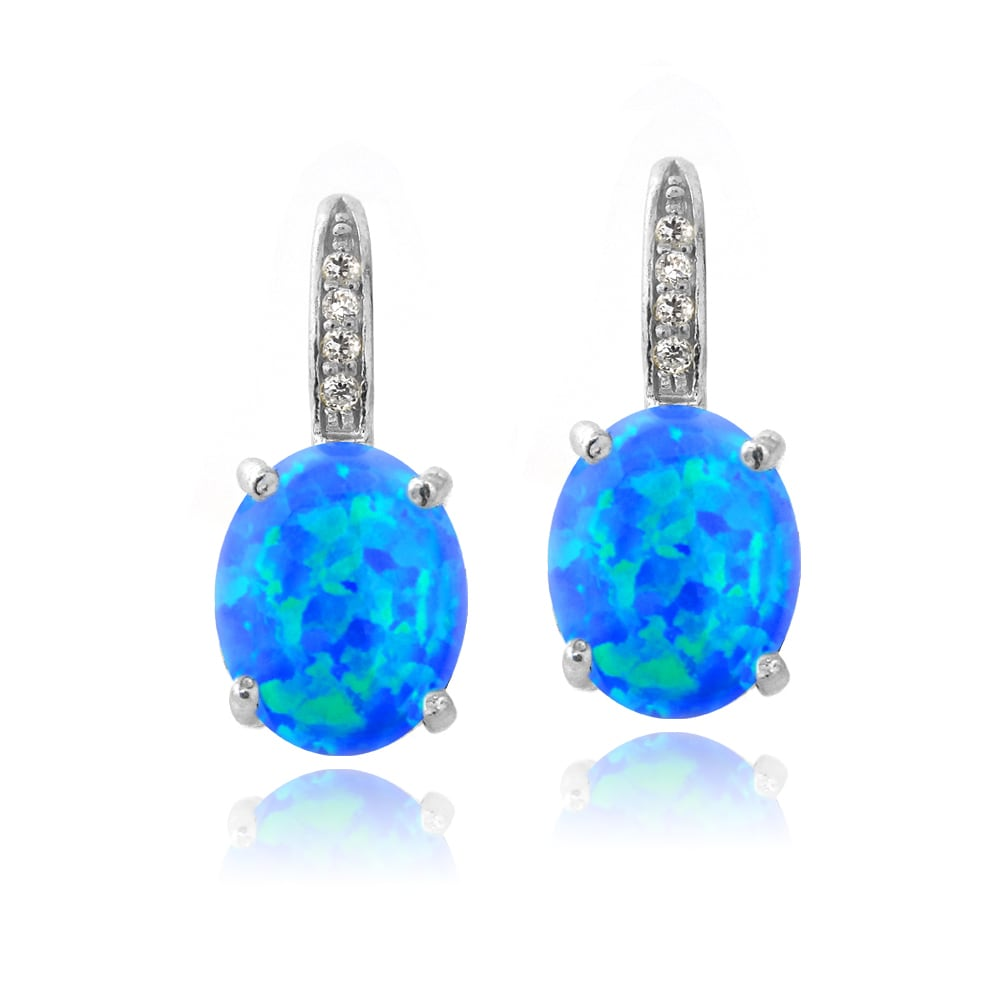 Glitzy Rocks Sterling Silver Created Opal And Diamond Accent Leverback Earrings On Free Shipping Orders Over 45 9423913