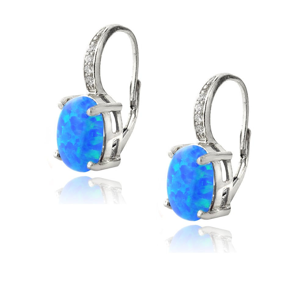 Glitzy Rocks Sterling Silver Created Opal And Diamond Accent Leverback Earrings Free Shipping On Orders Over 45 16610652