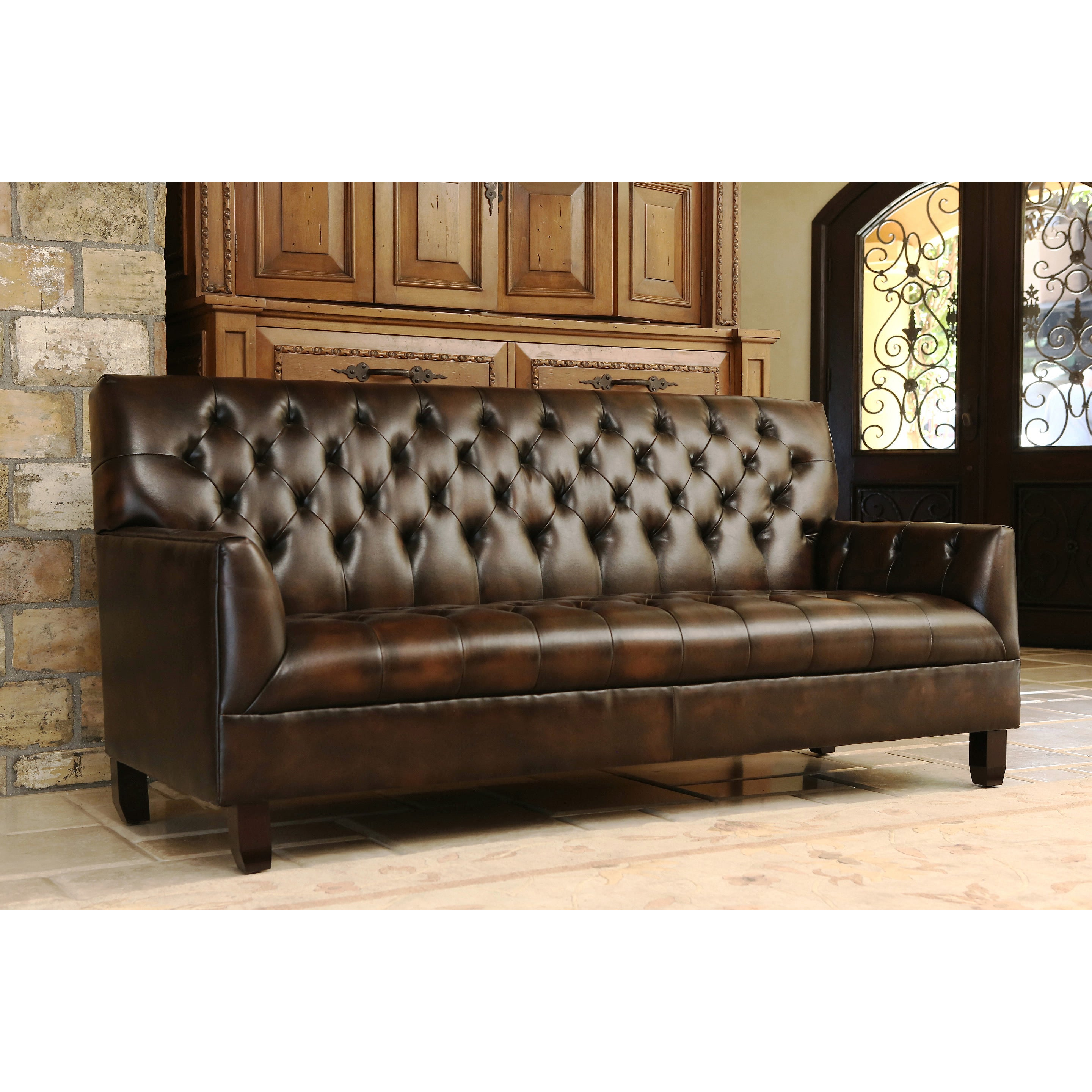Abbyson Alessio Hand Rubbed Bonded Leather Sofa   Free Shipping Today    Overstock   16612091