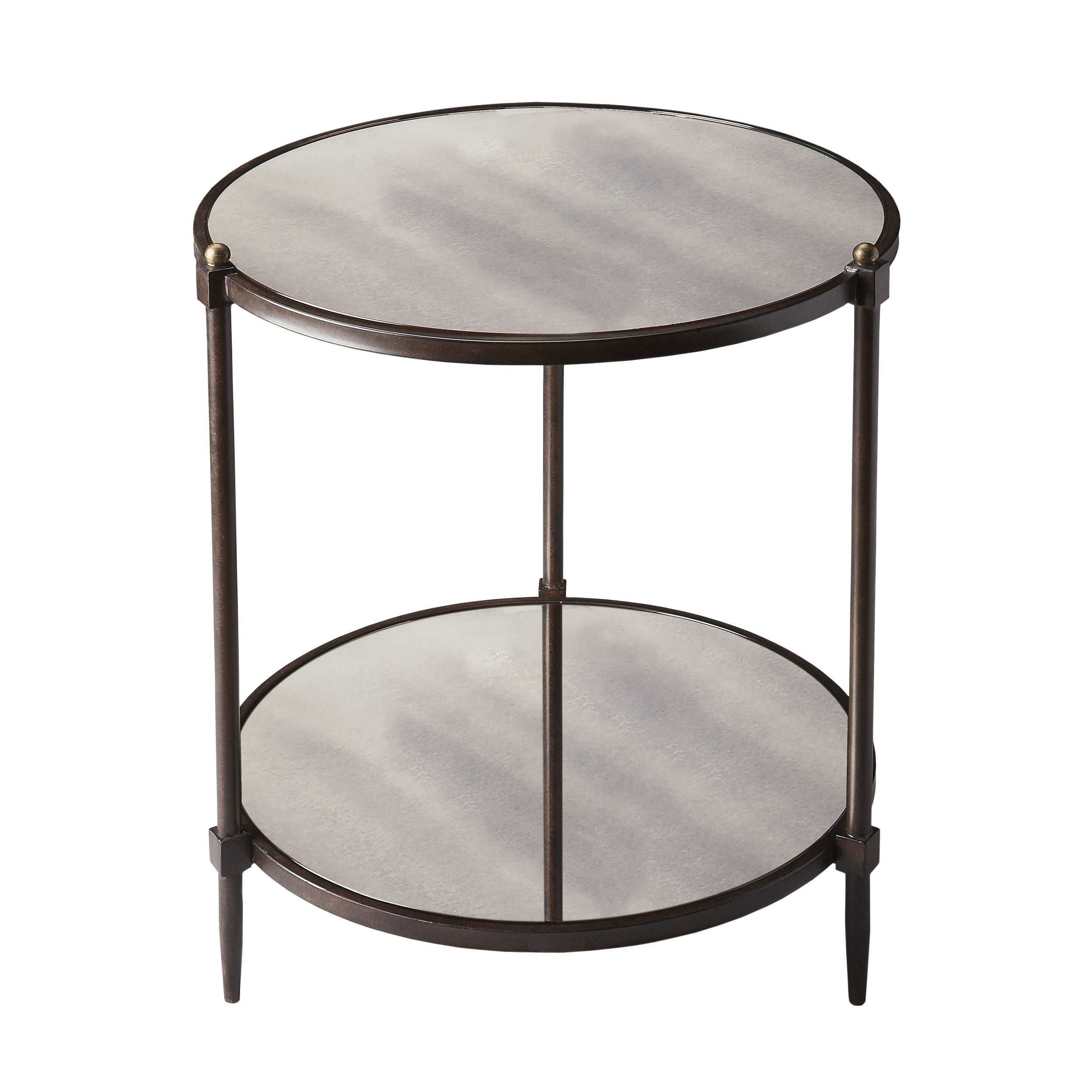 Shop Butler Peninsula Mirrored Round Side Table Gray Free