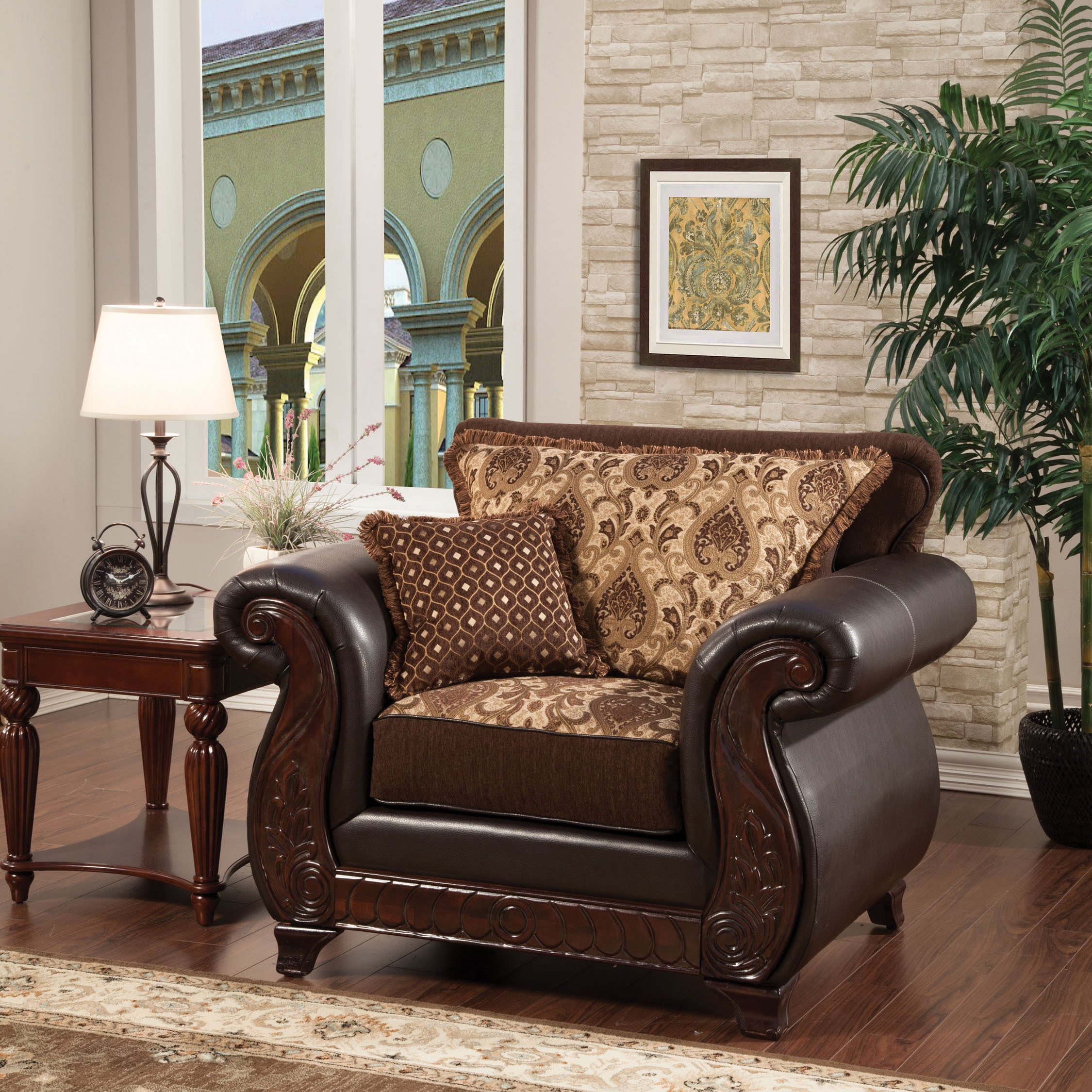 Furniture Of America Franchesca Traditional Style Fabric And Leatherette Chair Free Shipping Today 9426221