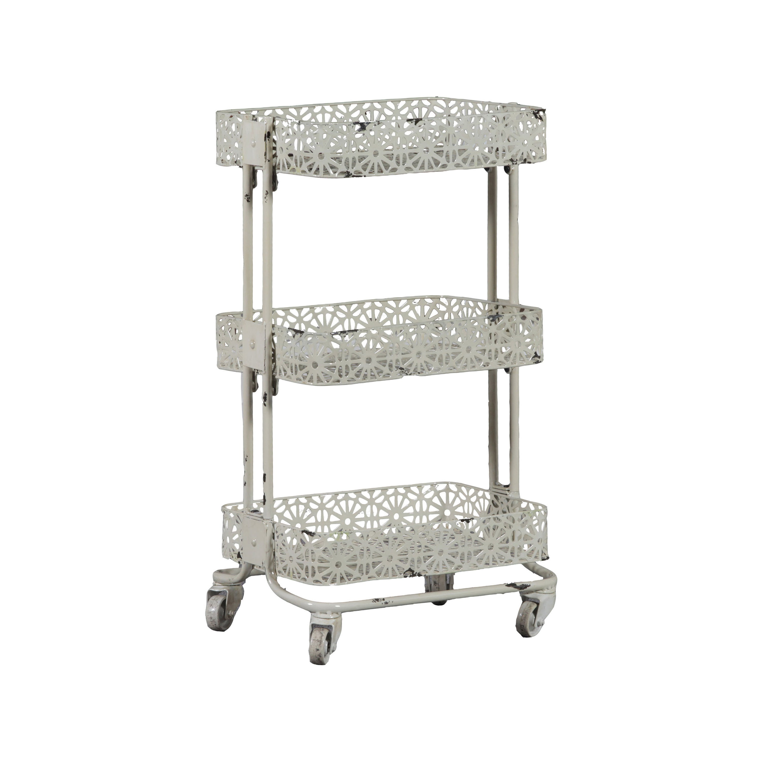 3 tier cart with wheels portable display shop linon cream metal 3tier cart on sale free shipping today overstockcom 9426773