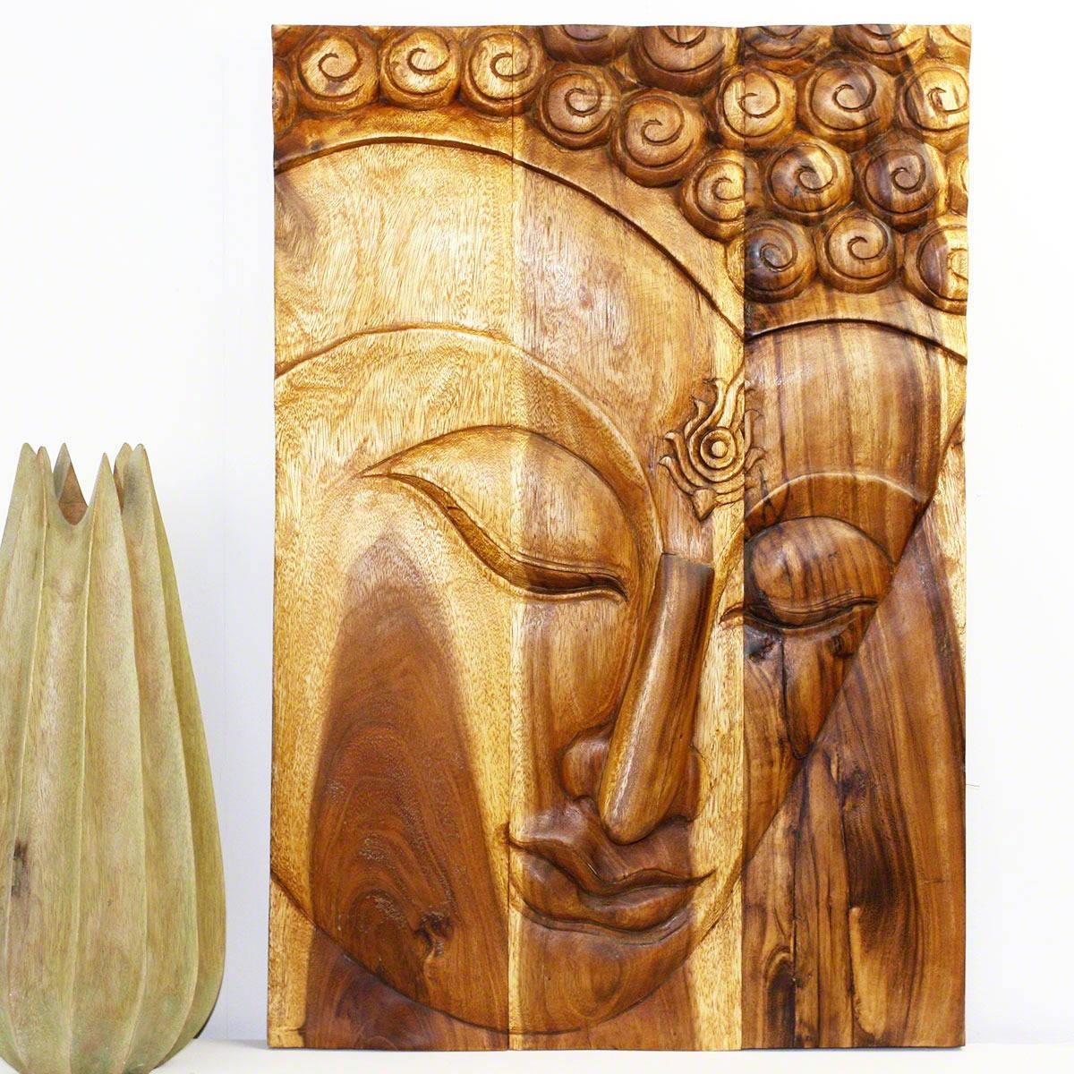 Shop Handmade 30 x 20 Oak Oiled \'Buddha/ Ushnisha\' Wall Panel ...