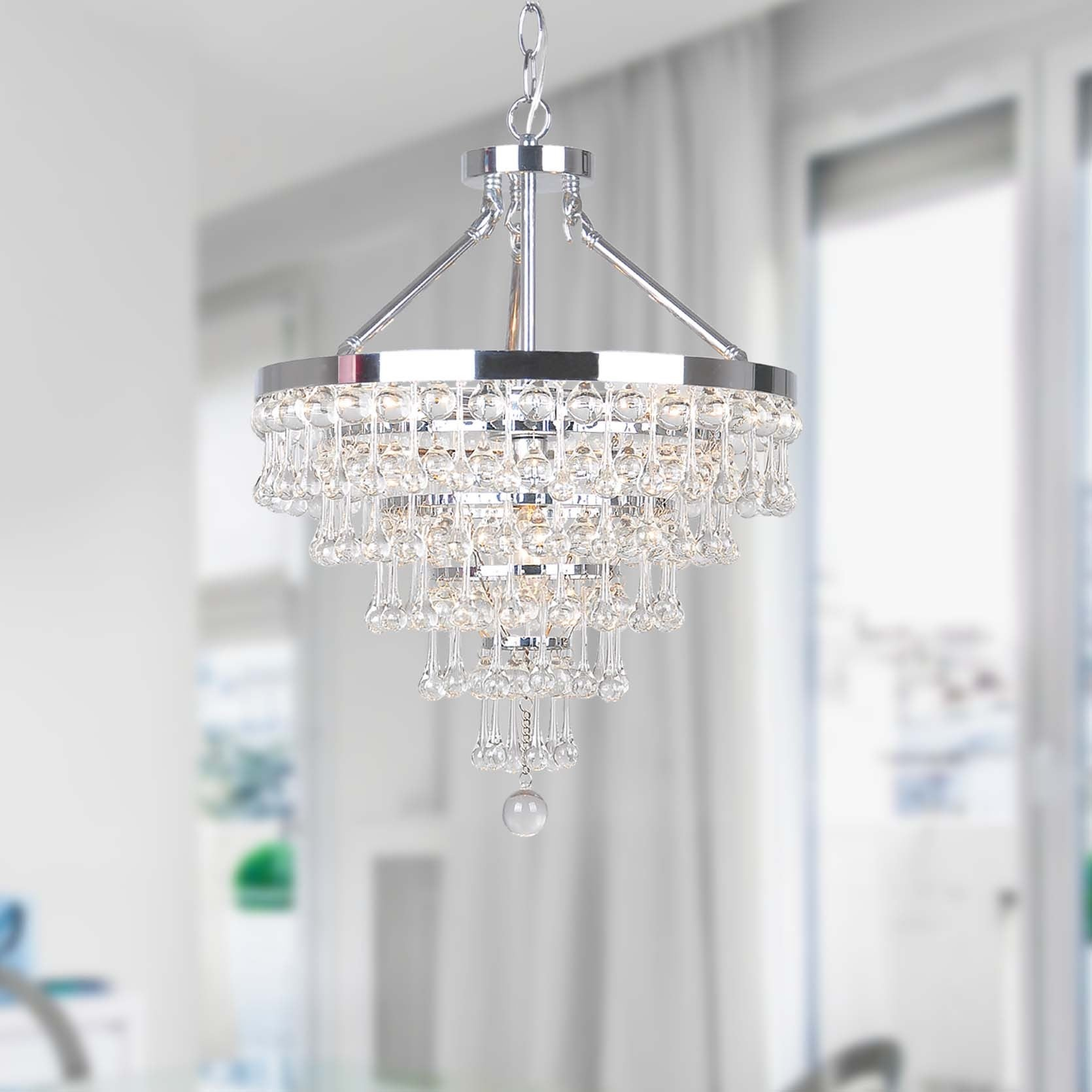 Claudia Chrome 5 light Chandelier with Crystal Glass Drop Free
