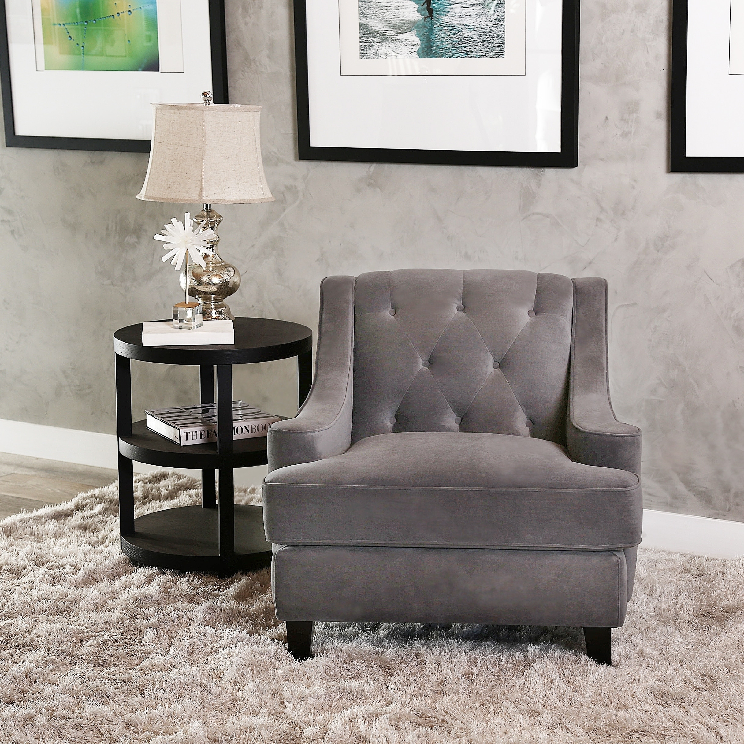 Abbyson Claridge Grey Velvet 3 Piece Livingroom Set - Free ...