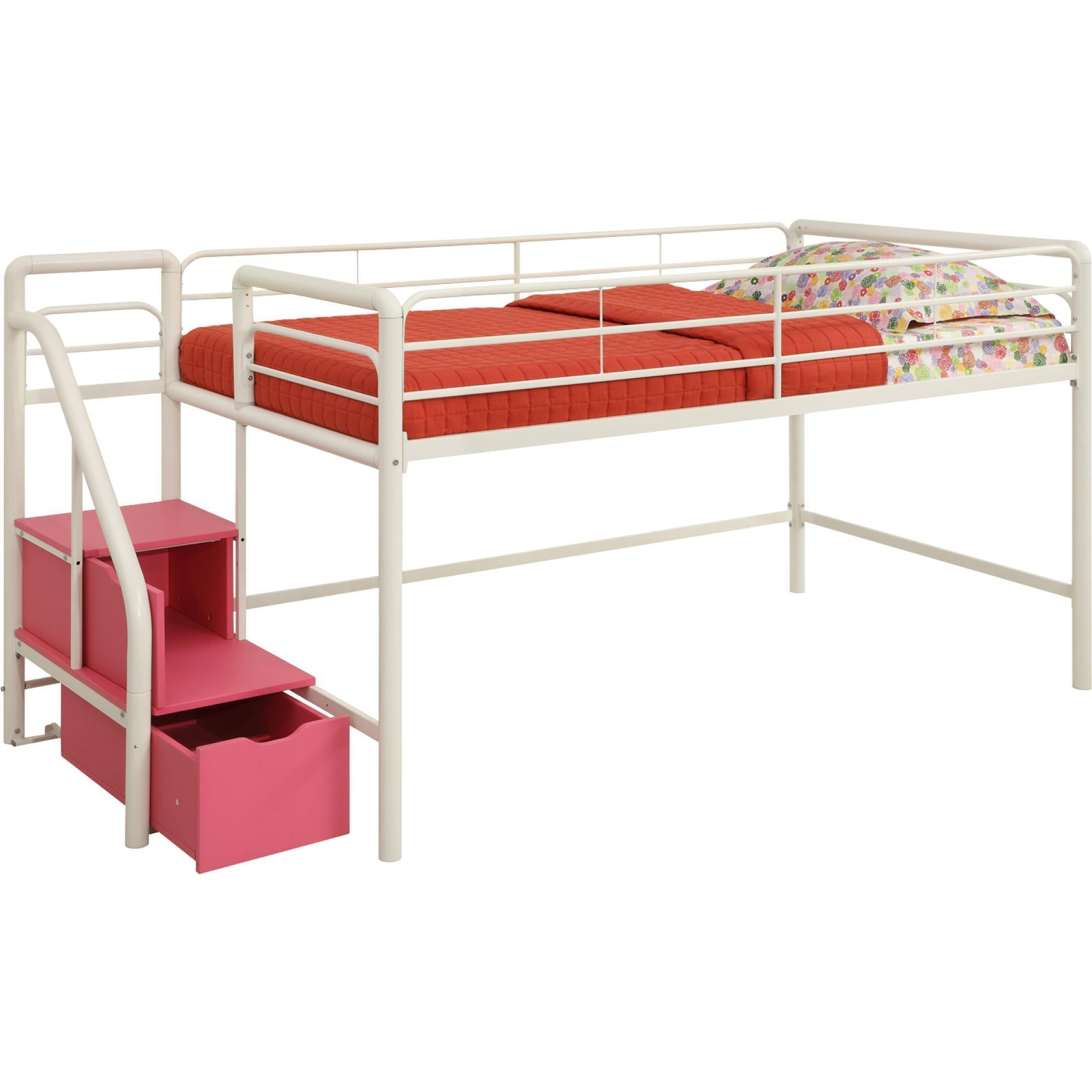 DHP Junior Pink and White Twin Loft Bed with Storage Steps - Free ...