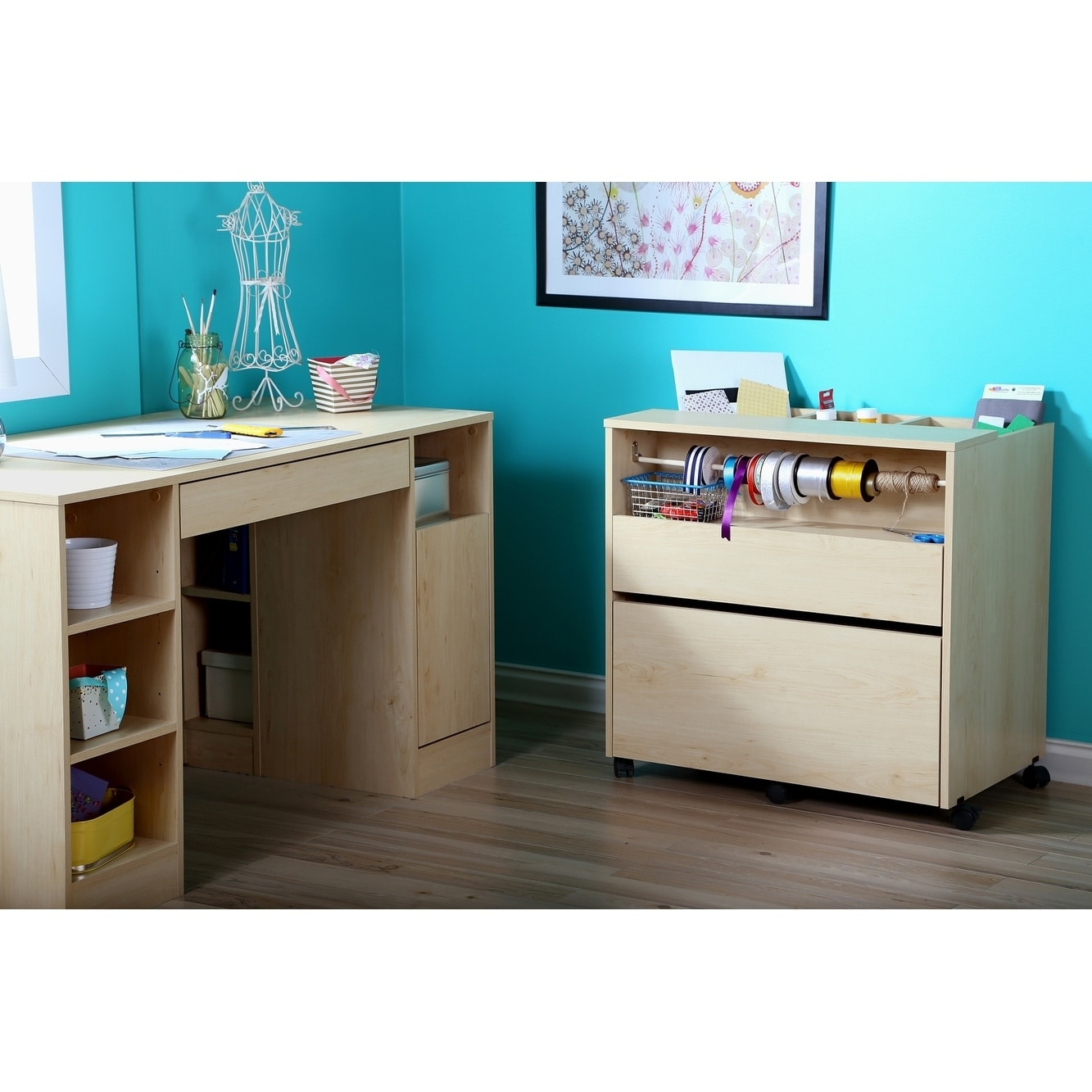 Shop South Shore Furniture Crea Craft Hobby And Sewing Machine Wood Table    Free Shipping Today   Overstock.com   9427755