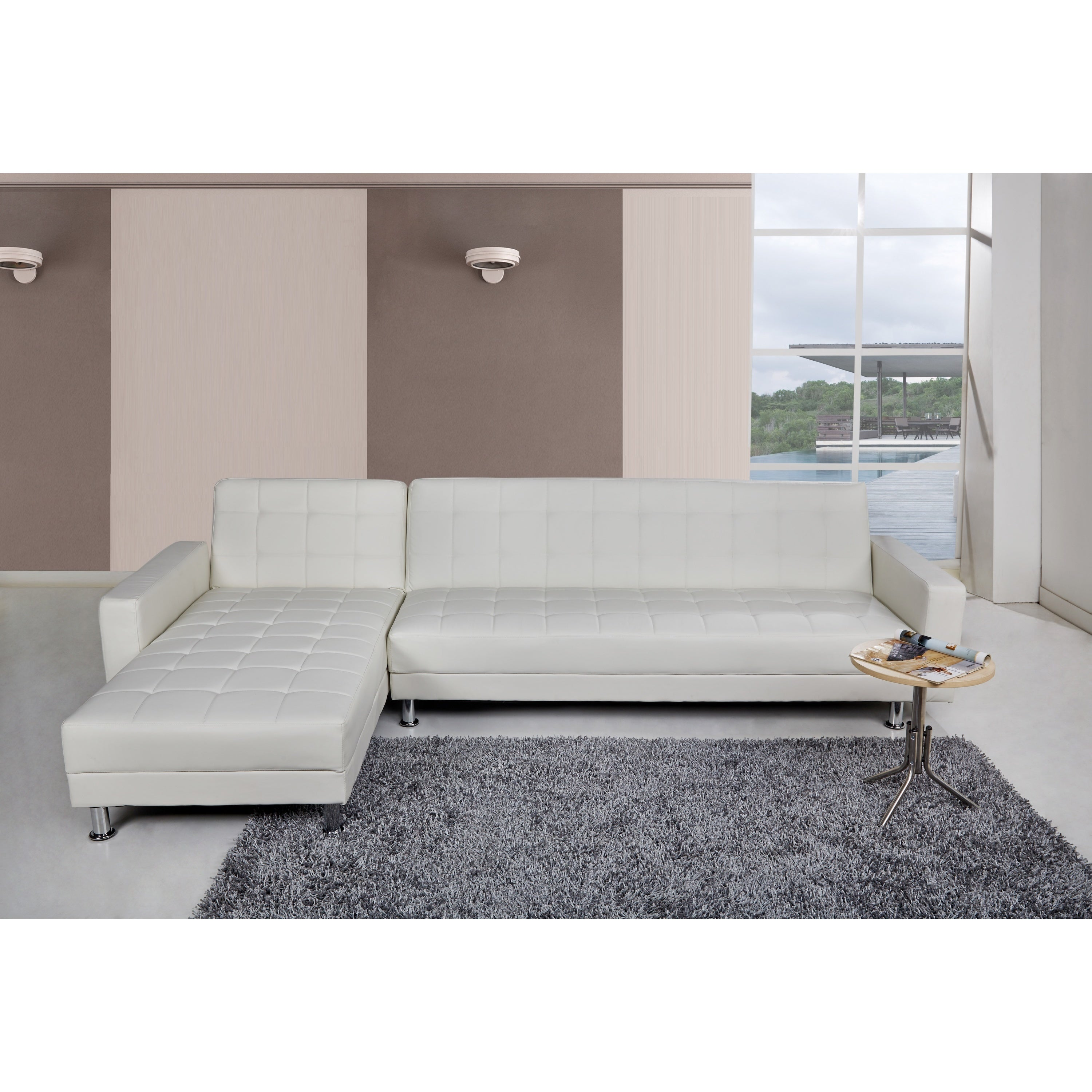 Shop Frankfort White Convertible Sectional Sofa Bed Free Shipping