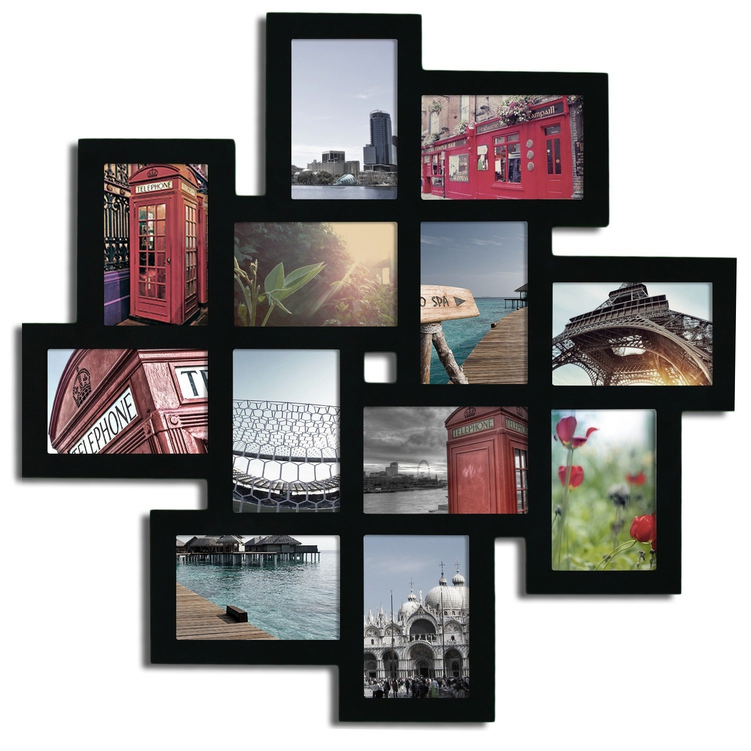 12-opening Wooden Wall Black Collage Photo Picture Frame Wall Art - Free  Shipping Today - Overstock.com - 16614723