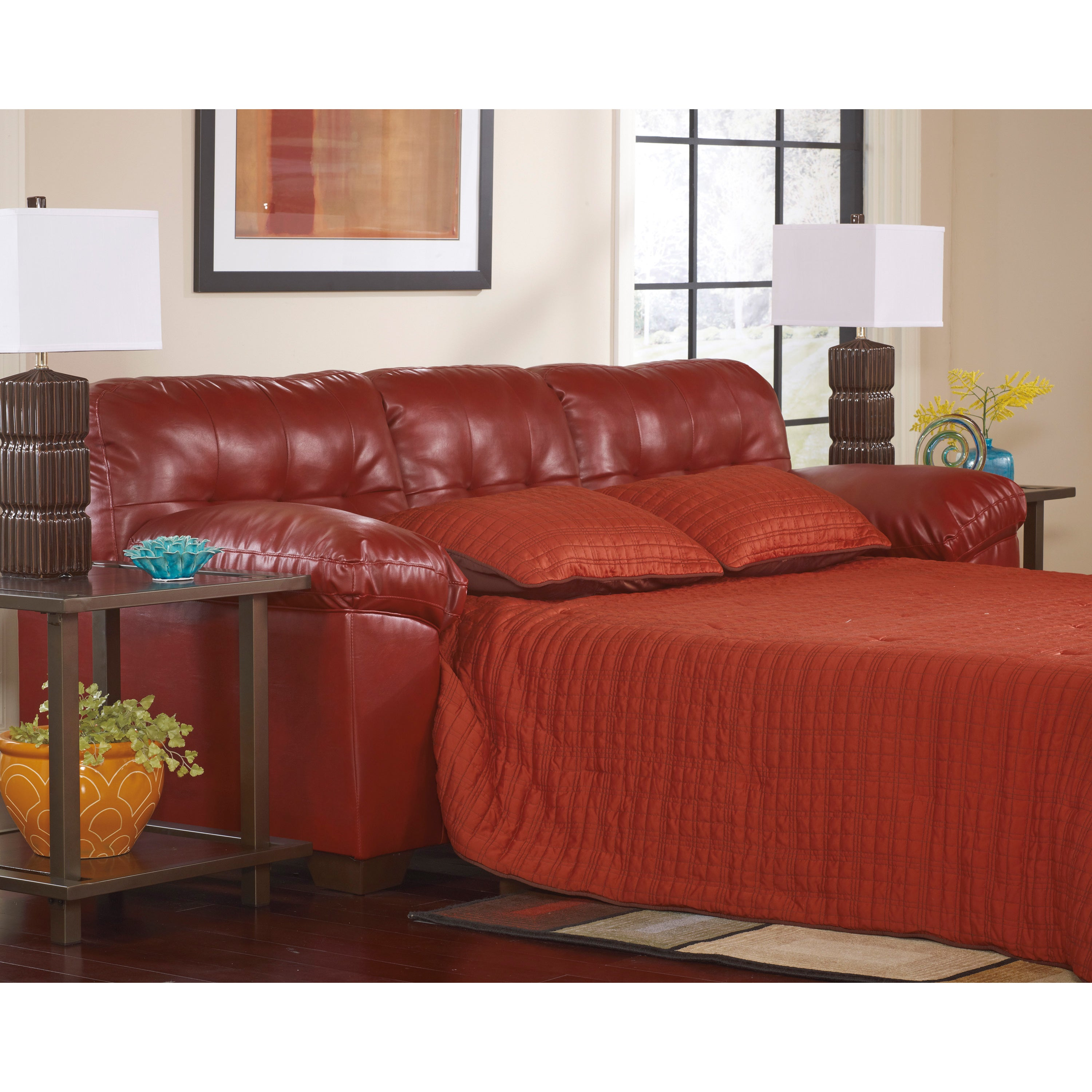 Signature Designs By Ashley U0027Allistonu0027 Queen Salsa Red DuraBlend Sofa  Sleeper   Free Shipping Today   Overstock   16621247