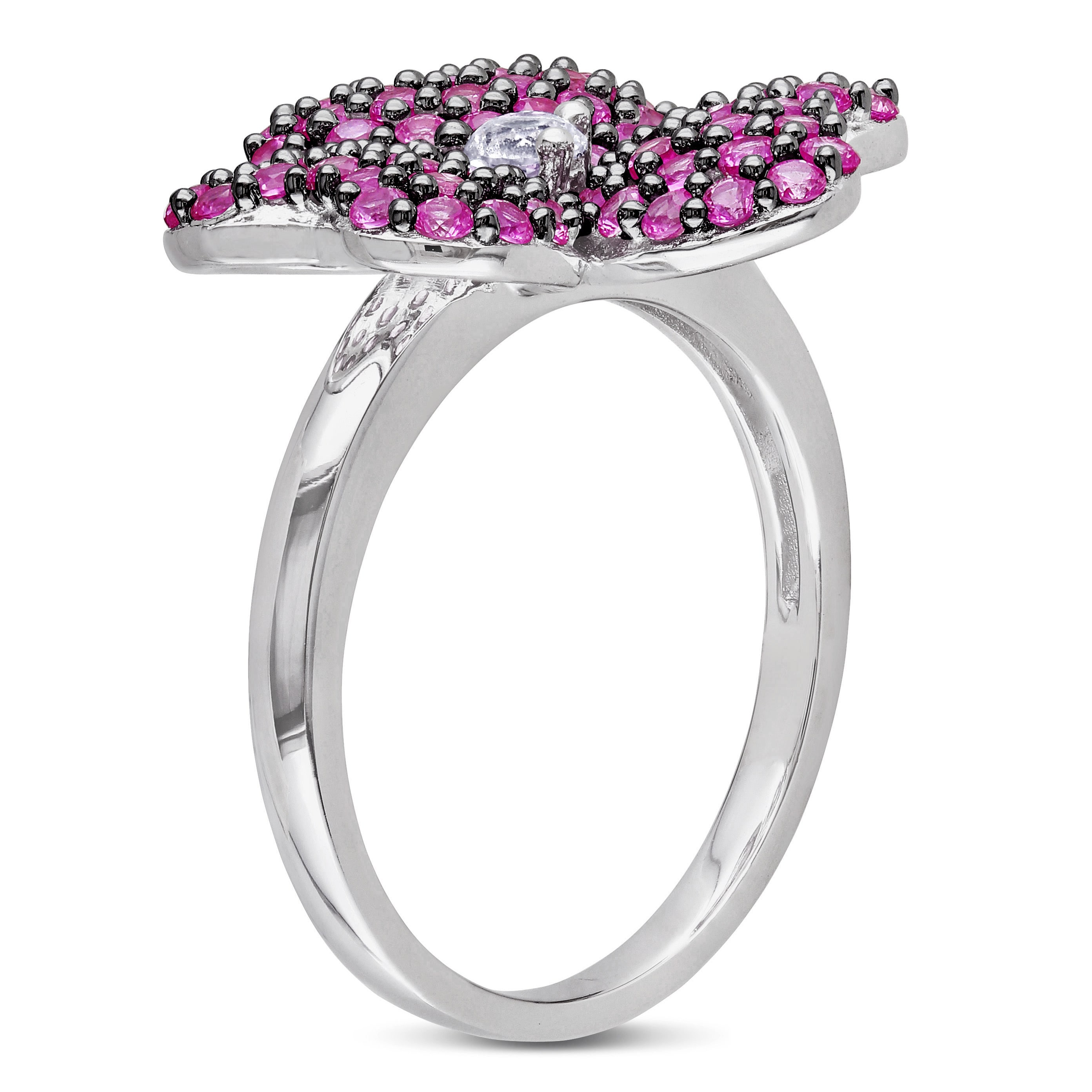 Shop Miadora Sterling Silver Created White And Pink Sapphire Flower