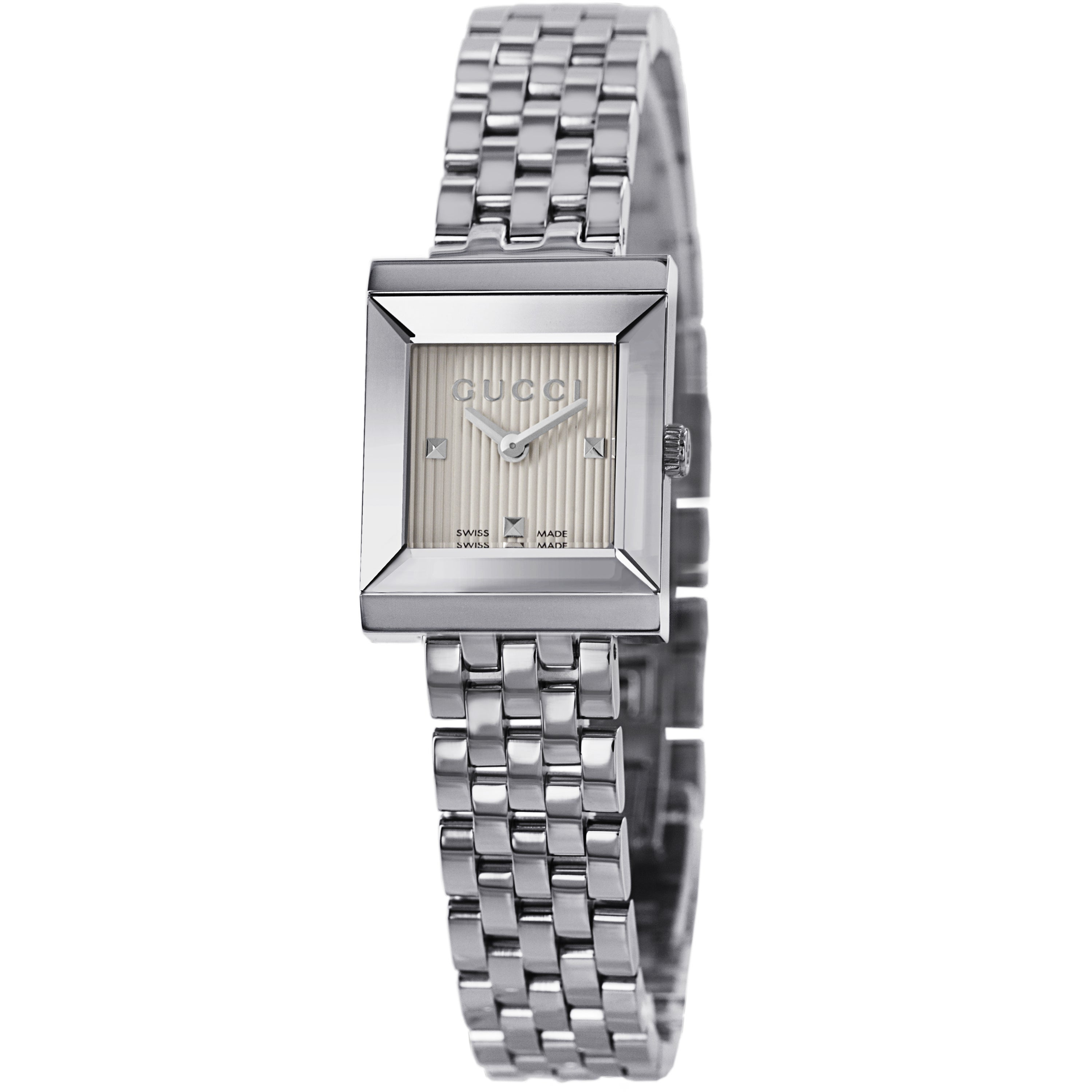 dd085630543 Shop Gucci Women s YA128402  G Frame  Silver Dial Stainless Steel Bracelet  Quartz Watch - Free Shipping Today - Overstock - 9437211