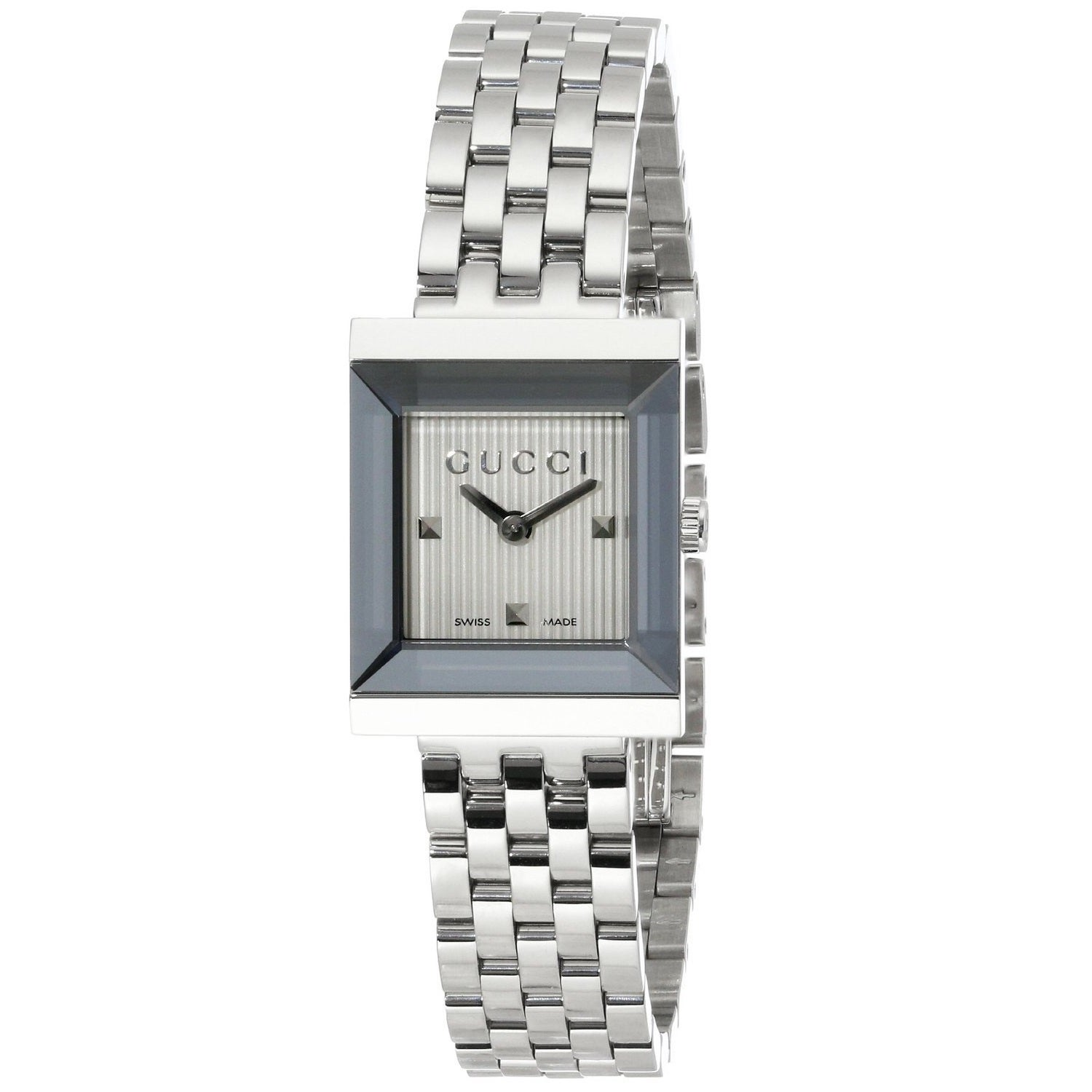 Gucci Women\'s YA128402 \'G Frame\' Silver Dial Stainless Steel ...