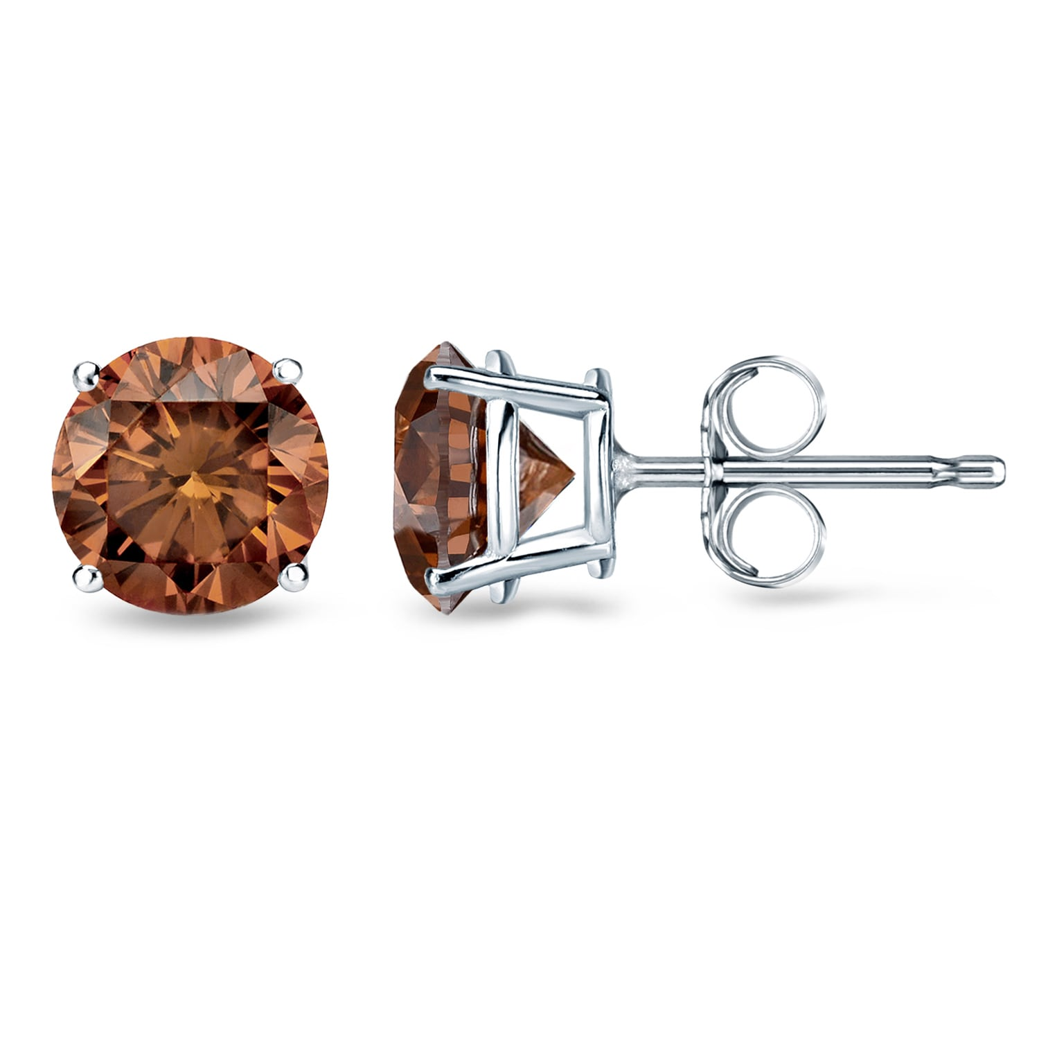 Auriya 1 2ct To Tdw Round Brown Diamond Stud Earrings 14k White Gold On Free Shipping Today 9437303