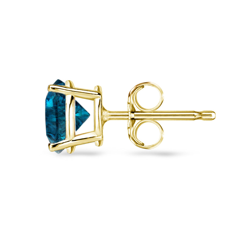 d7e90b11010 Auriya Round Blue Diamond Stud Earrings 1/2ct to 4ct TW 14k Yellow Gold
