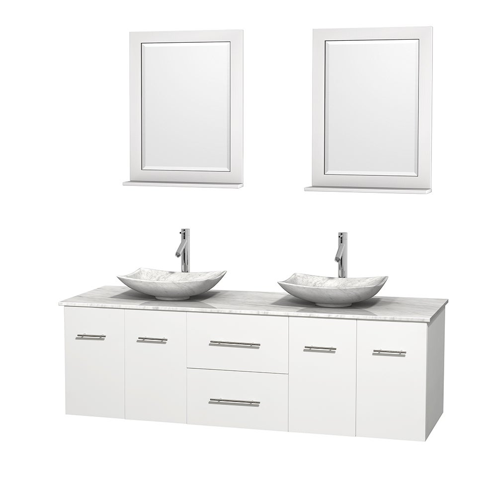 Wyndham Collection Centra White 72-inch Double Carrera Marble ...