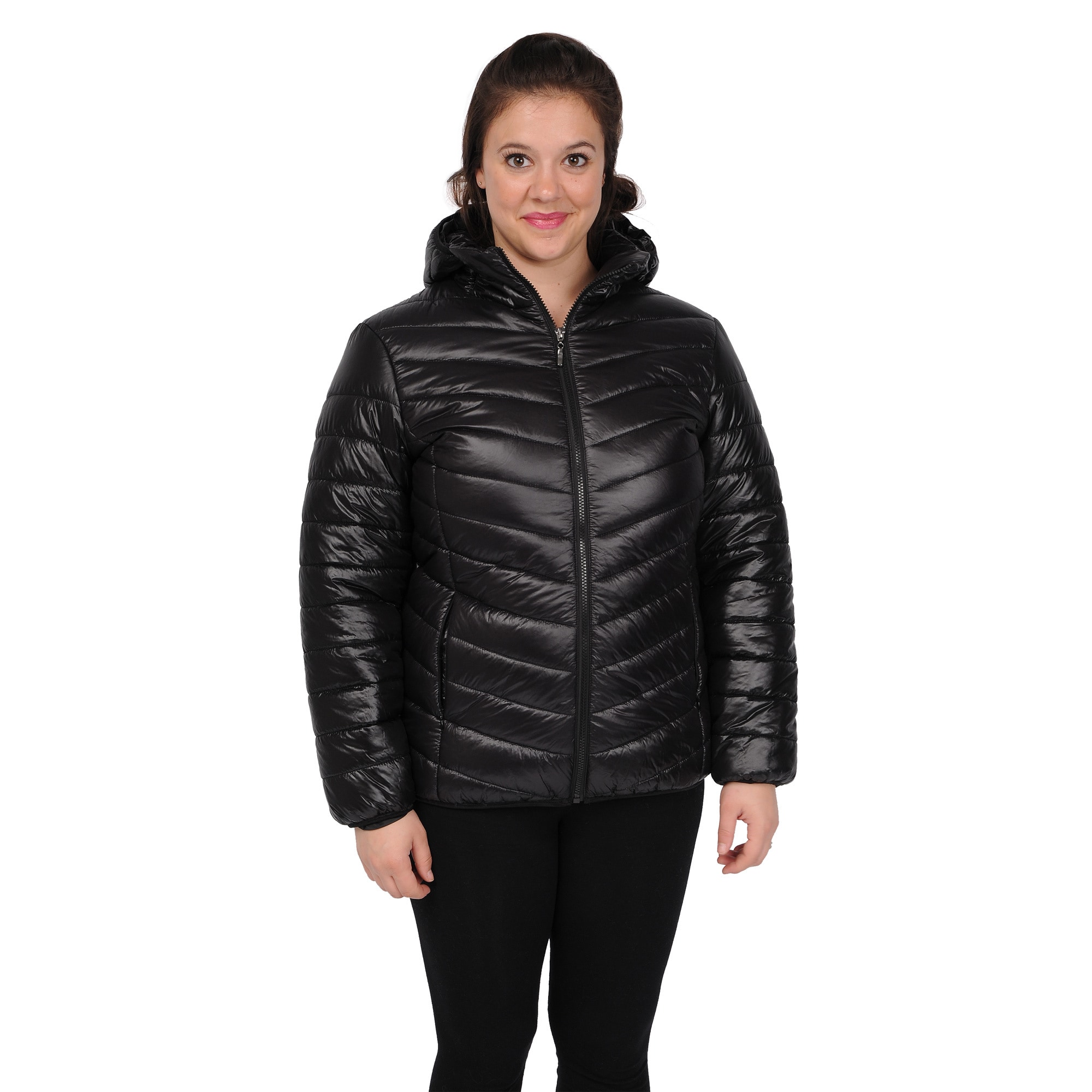 9c1a47ccd53fe Shop EXcelled Women s Plus Size Packable Puffer Jacket with Attached Hood -  Free Shipping Today - Overstock - 9441766