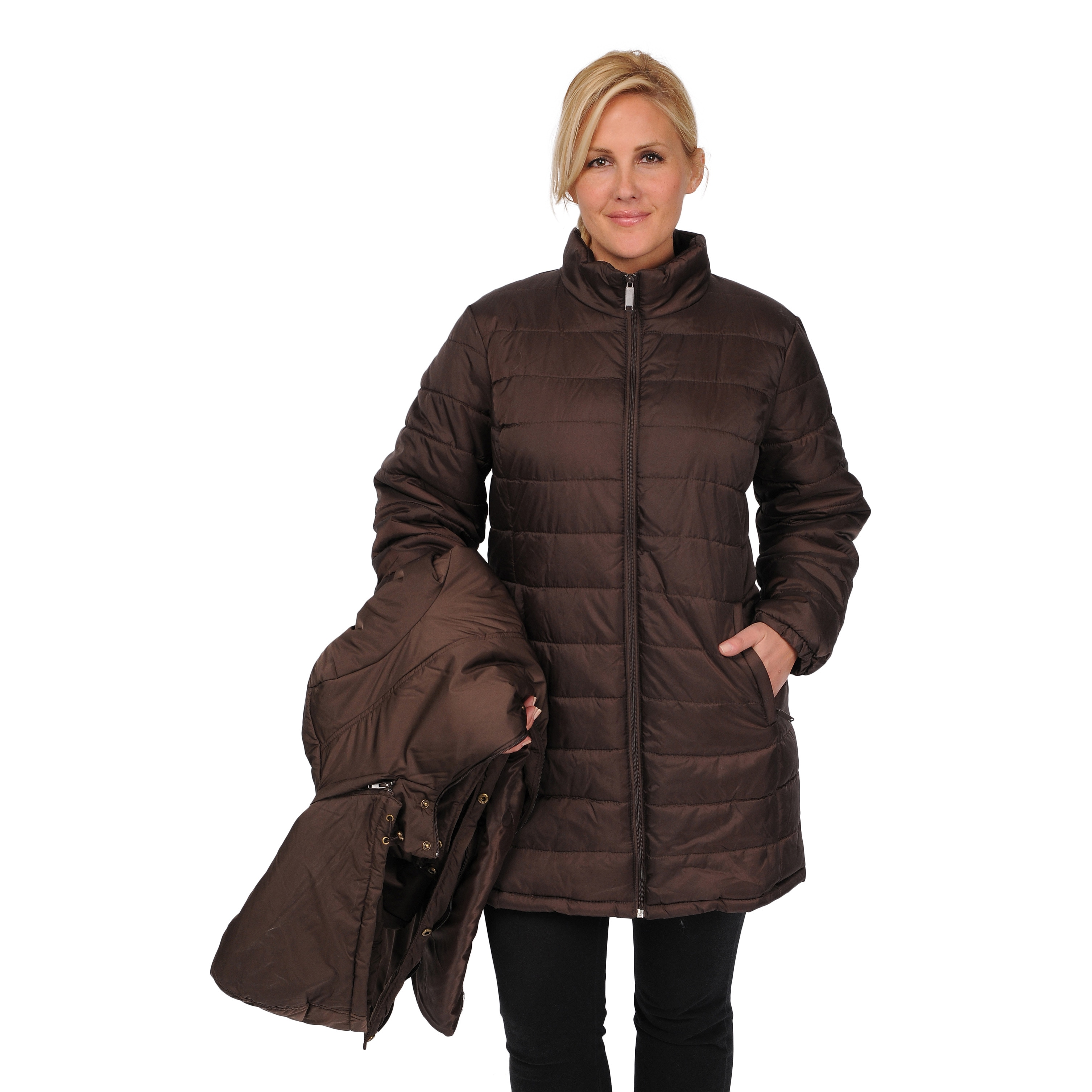 ab6b9f2b635 Shop EXcelled Women s Plus Size 3-in-1 Knee-length Jacket - Free Shipping  Today - Overstock - 9441782