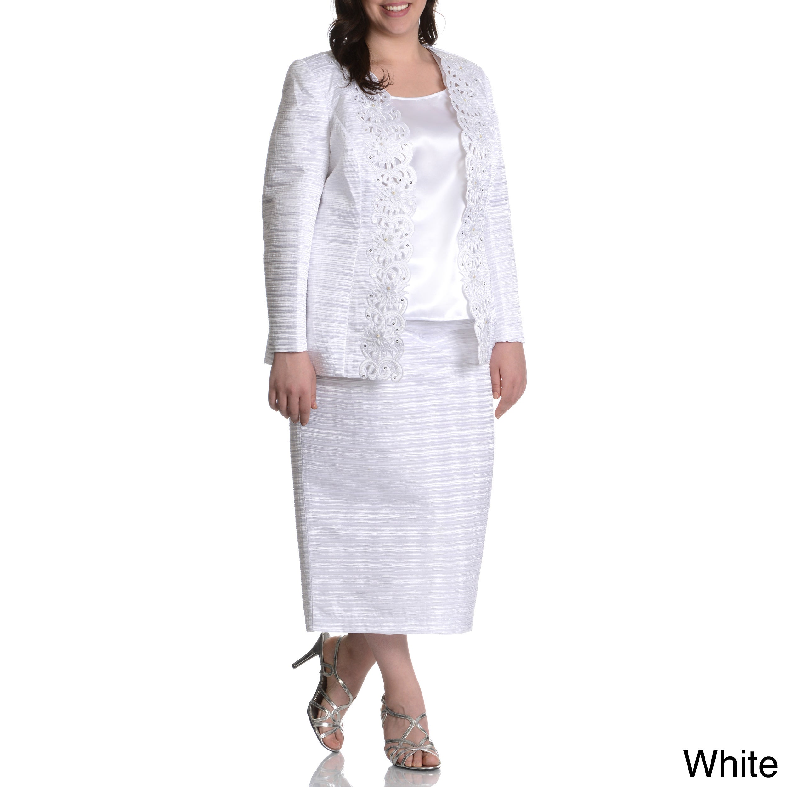 035ea1367e7 Shop Giovanna Women s Plus Size Textured 3-piece Skirt Suit - Free Shipping  Today - Overstock - 9443740