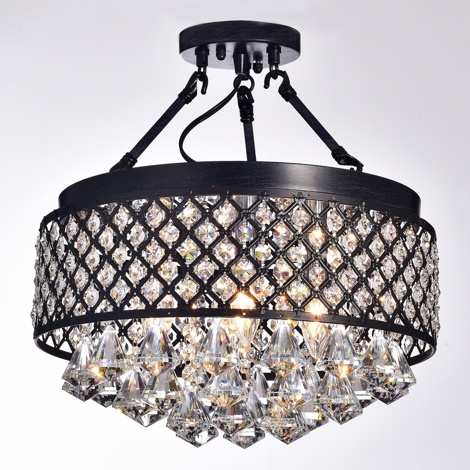 Silver Orchid Taylor 4 light Antique Black Semi Flush Mount