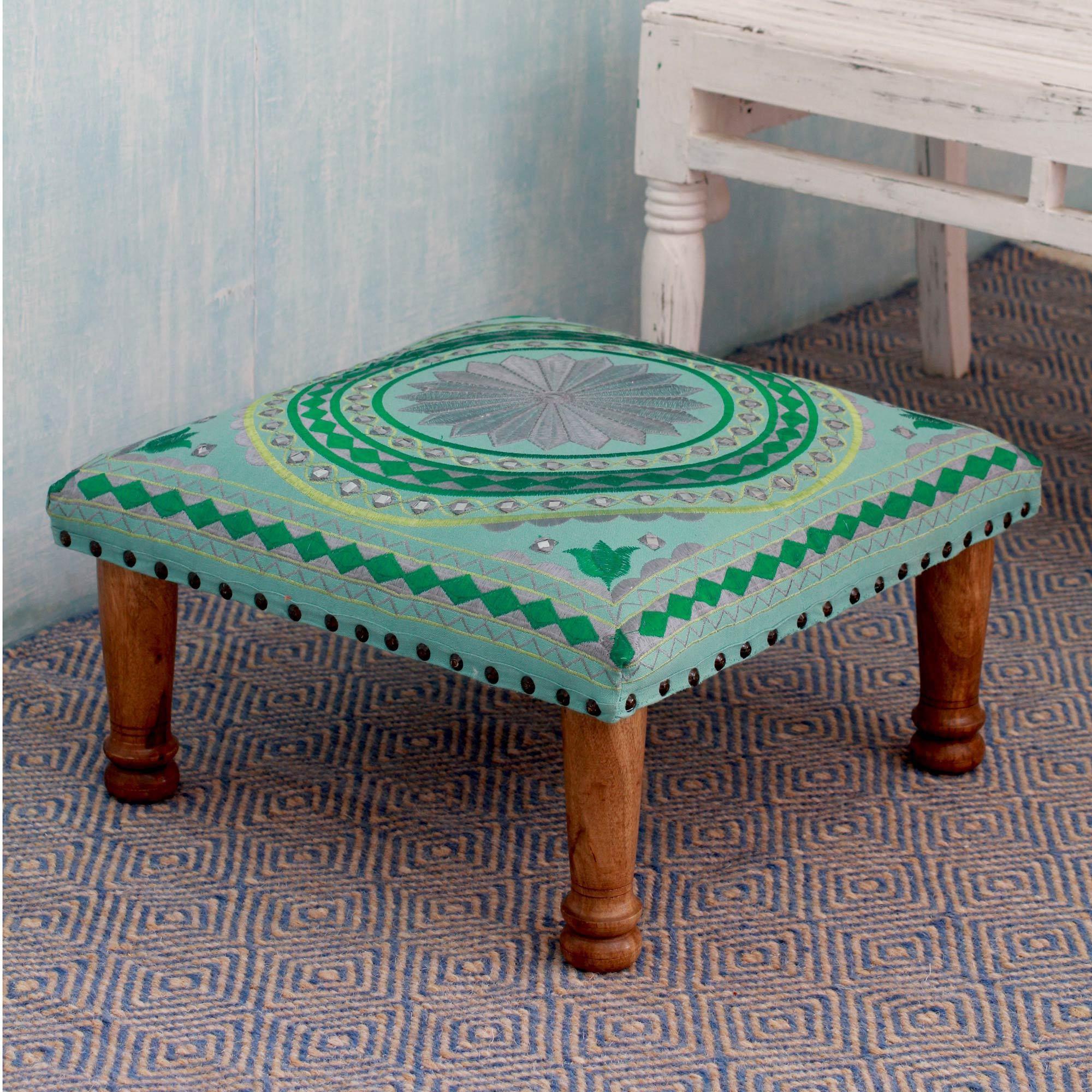 Shop Handmade Seesham Wood Cotton Rayon \'Silver Mandala\' Foot Stool ...