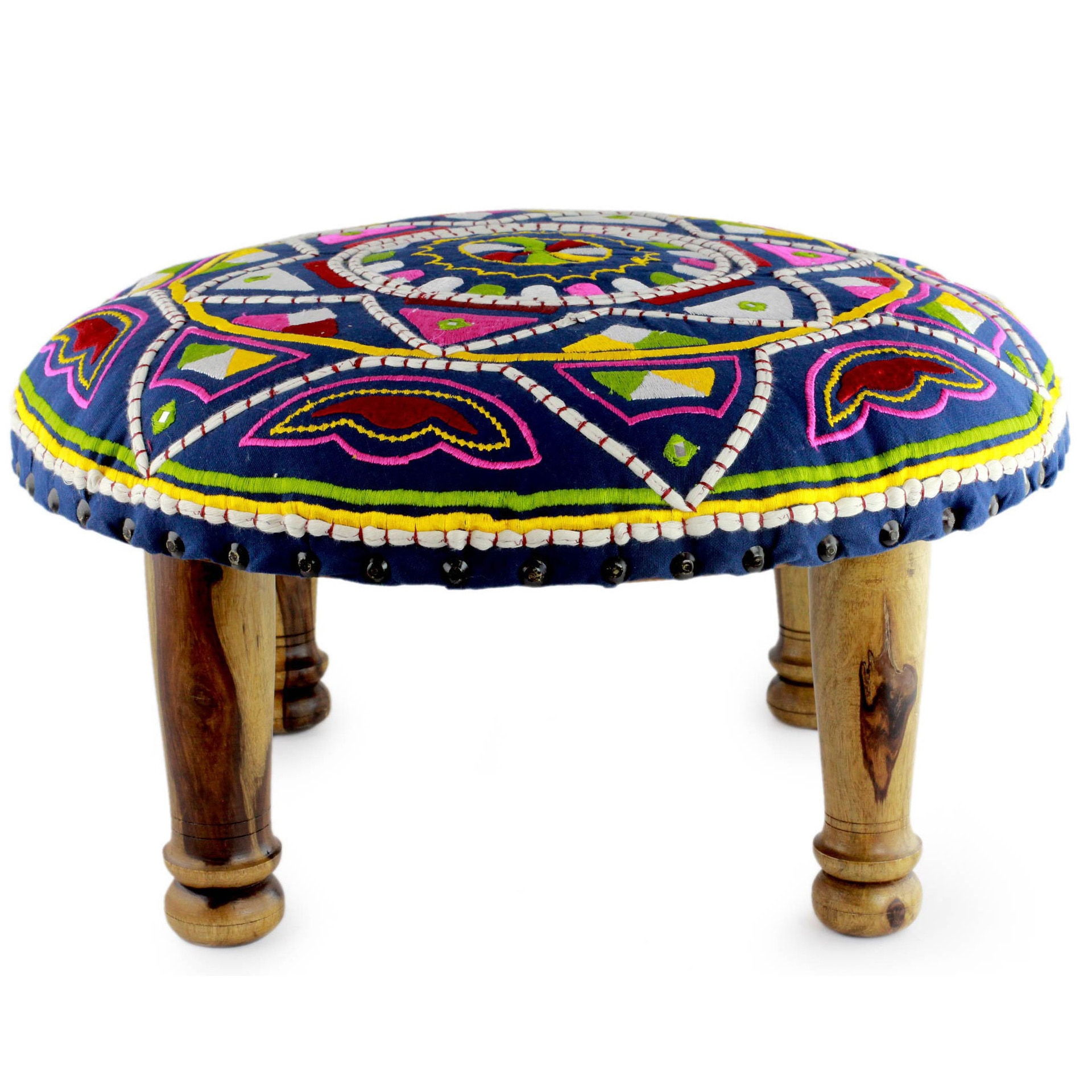 Shop handmade seesham wood cotton rayon rajasthan galaxy foot stool ottoman india on sale free shipping today overstock com 9447001