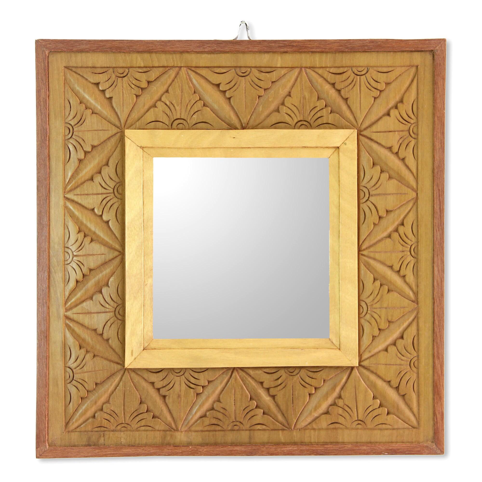 Shop Handmade Cempaka Wood \'Matahari Mosaic\' Relief Panel and Mirror ...