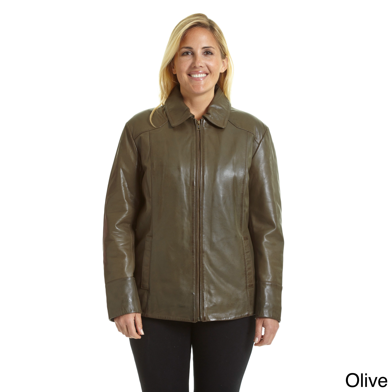 87e44502a3deb Shop Excelled Women s Plus Lambskin Leather Scuba Jacket - Free ...