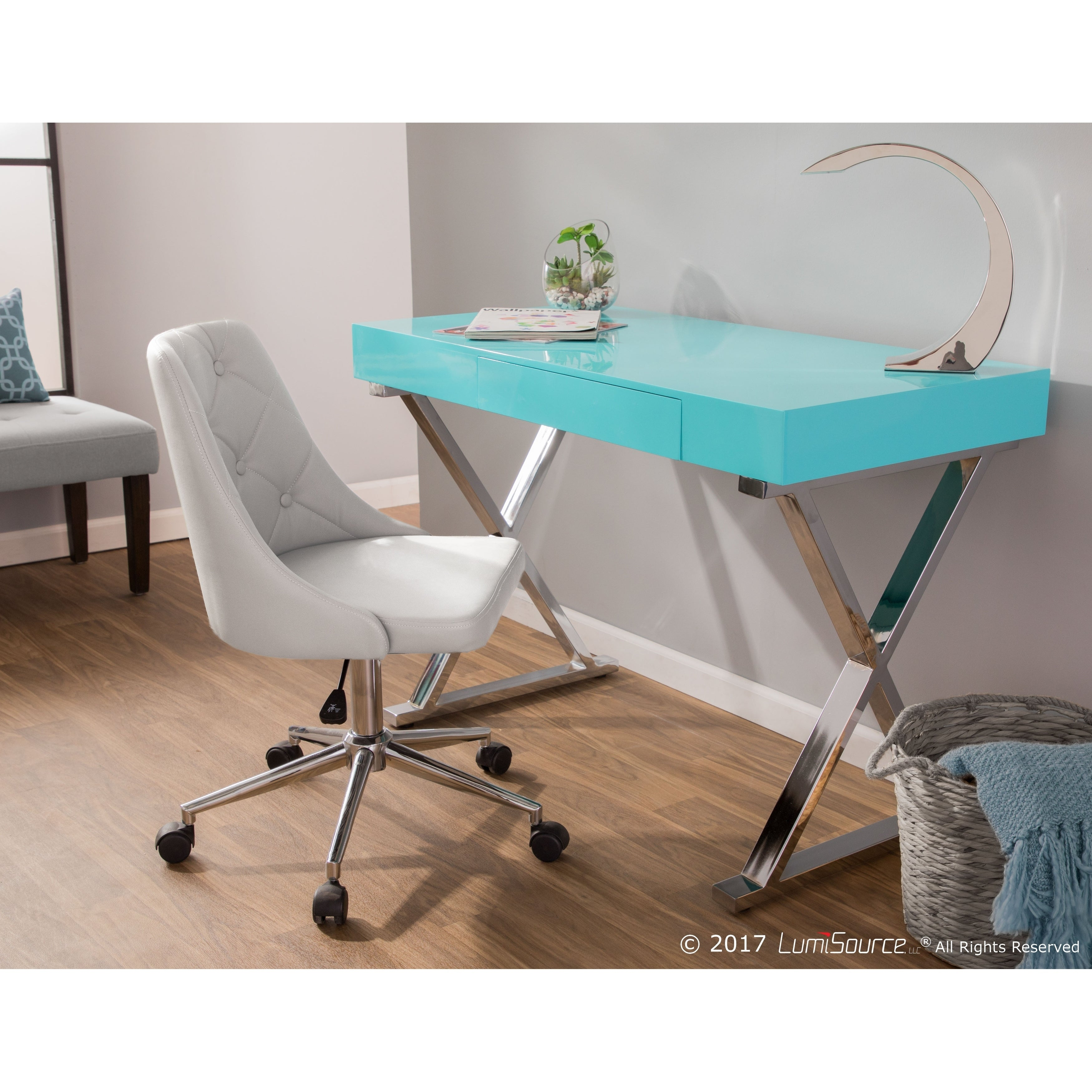 Shop lumisource luster contemporary office desk on sale free shipping today overstock com 9459633