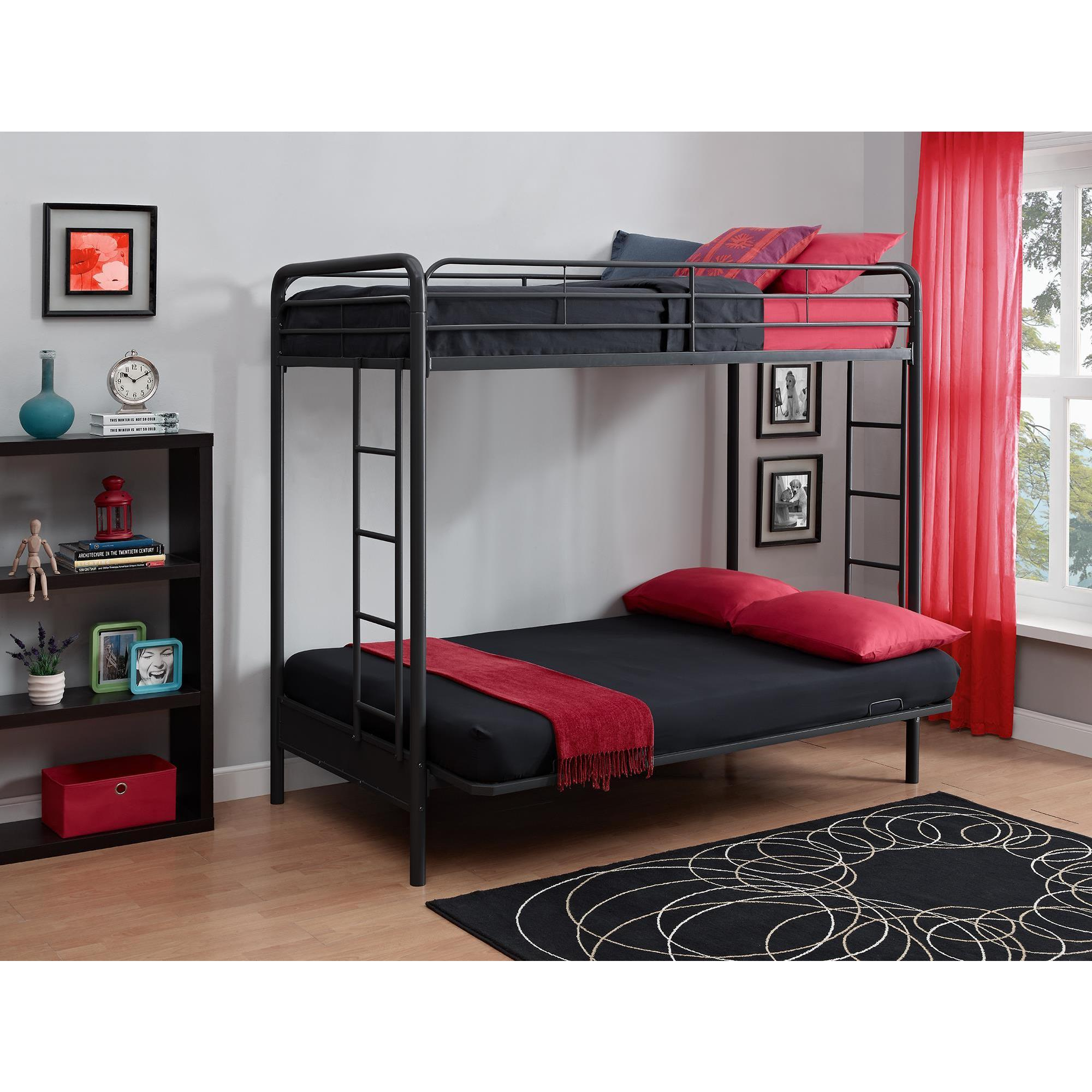 DHP Twin over Futon Black Metal Bunk Bed Free Shipping Today